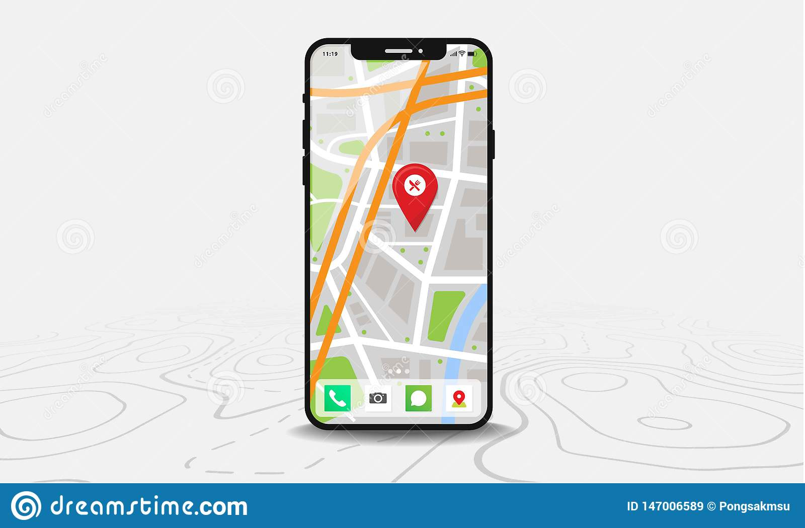 Smartphone with map and red pinpoint on screen, isolated on line maps background.