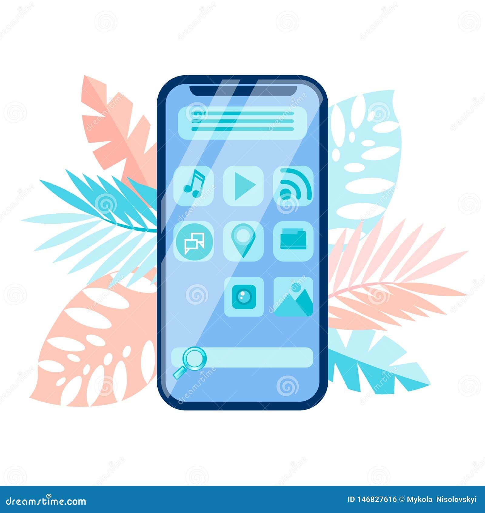 Smartphone menu interfejs, GUI wektoru ilustracja