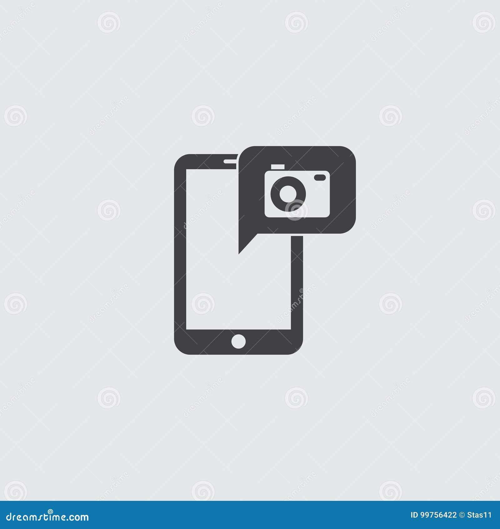 Smartphone met camerapictogram in een vlak ontwerp in zwarte kleur Vector illustratie EPS10