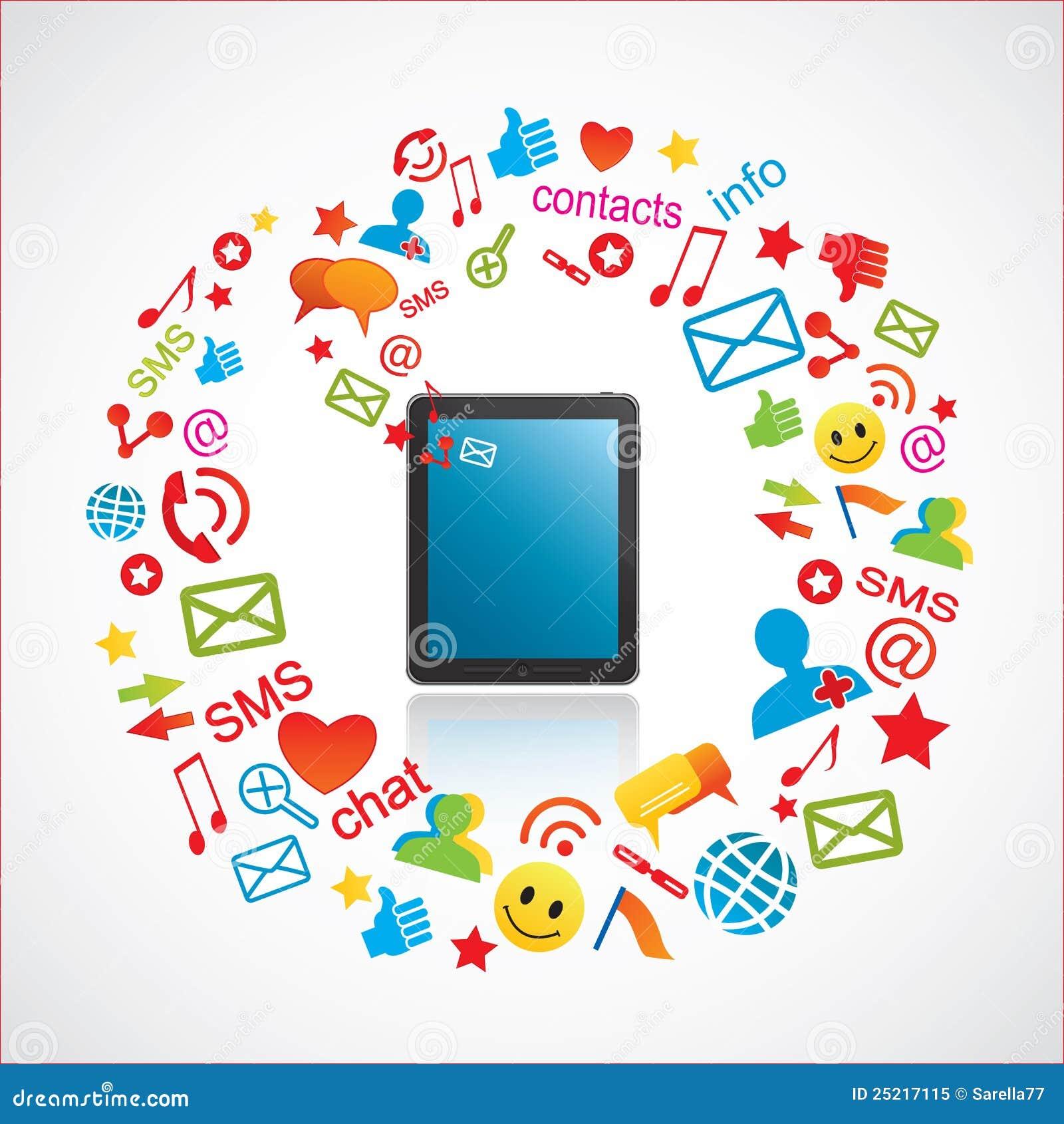 Smartphone met communicatie pictogrammen