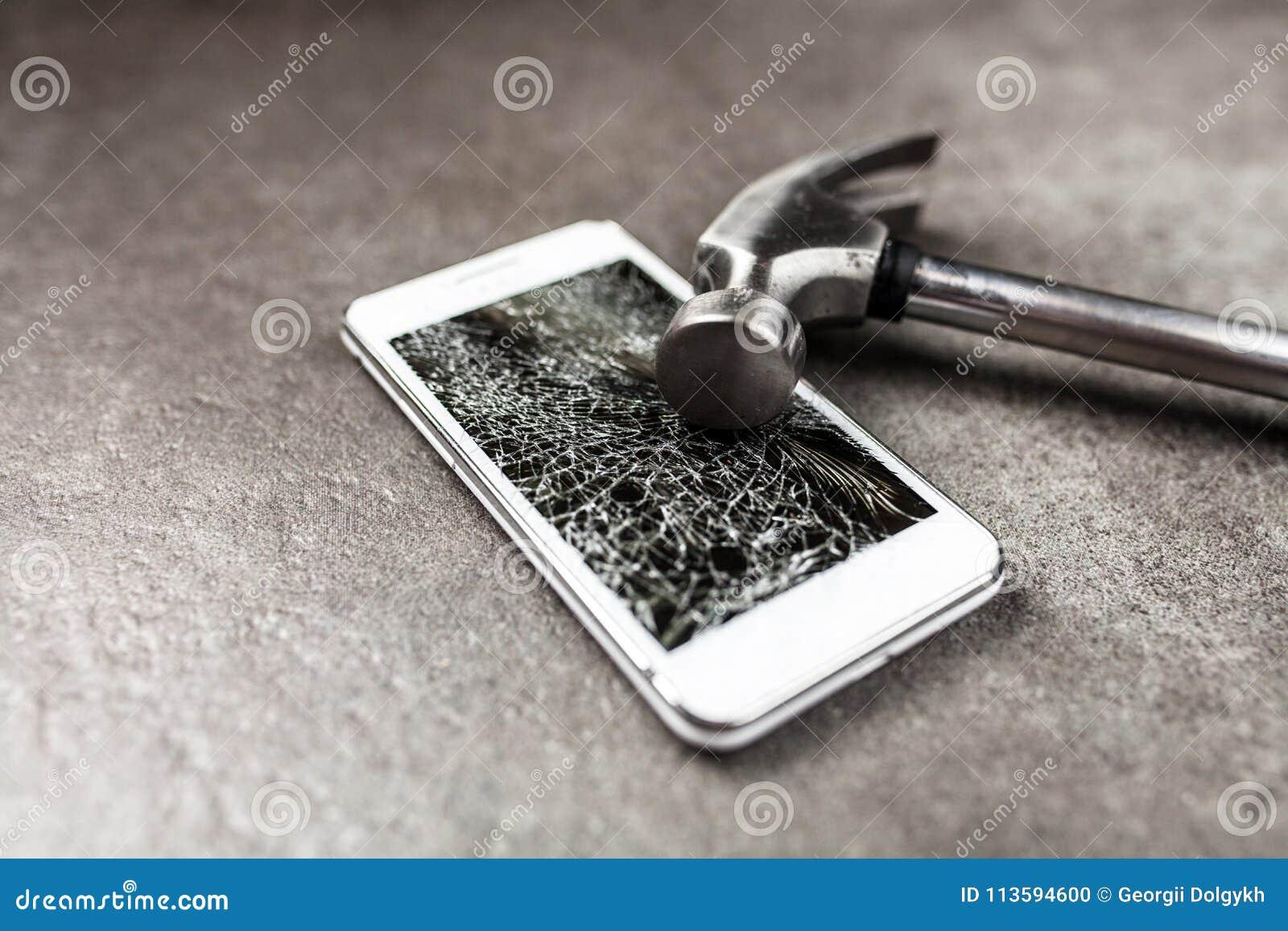 Smartphone met het gebroken scherm