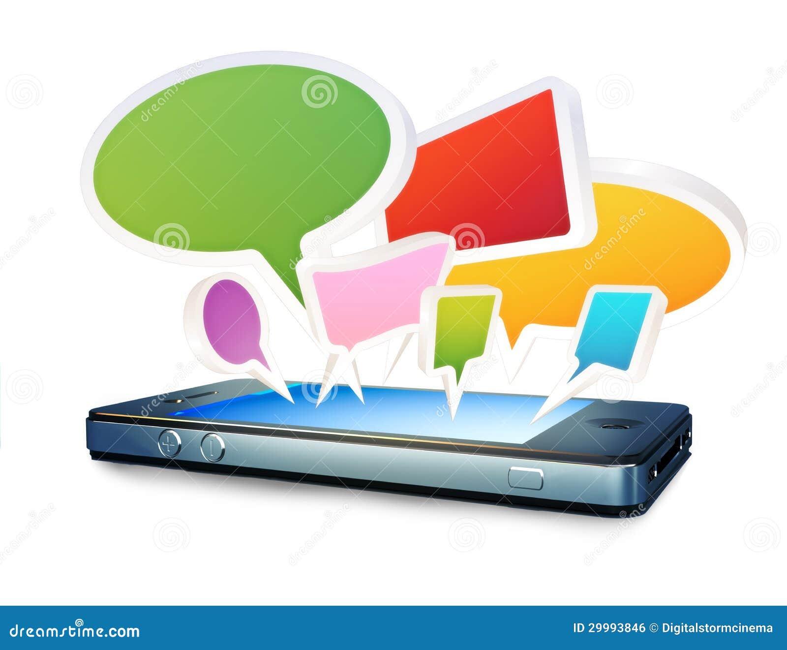 Smartphone met sociale media babbelt bellen of toespraakbellen