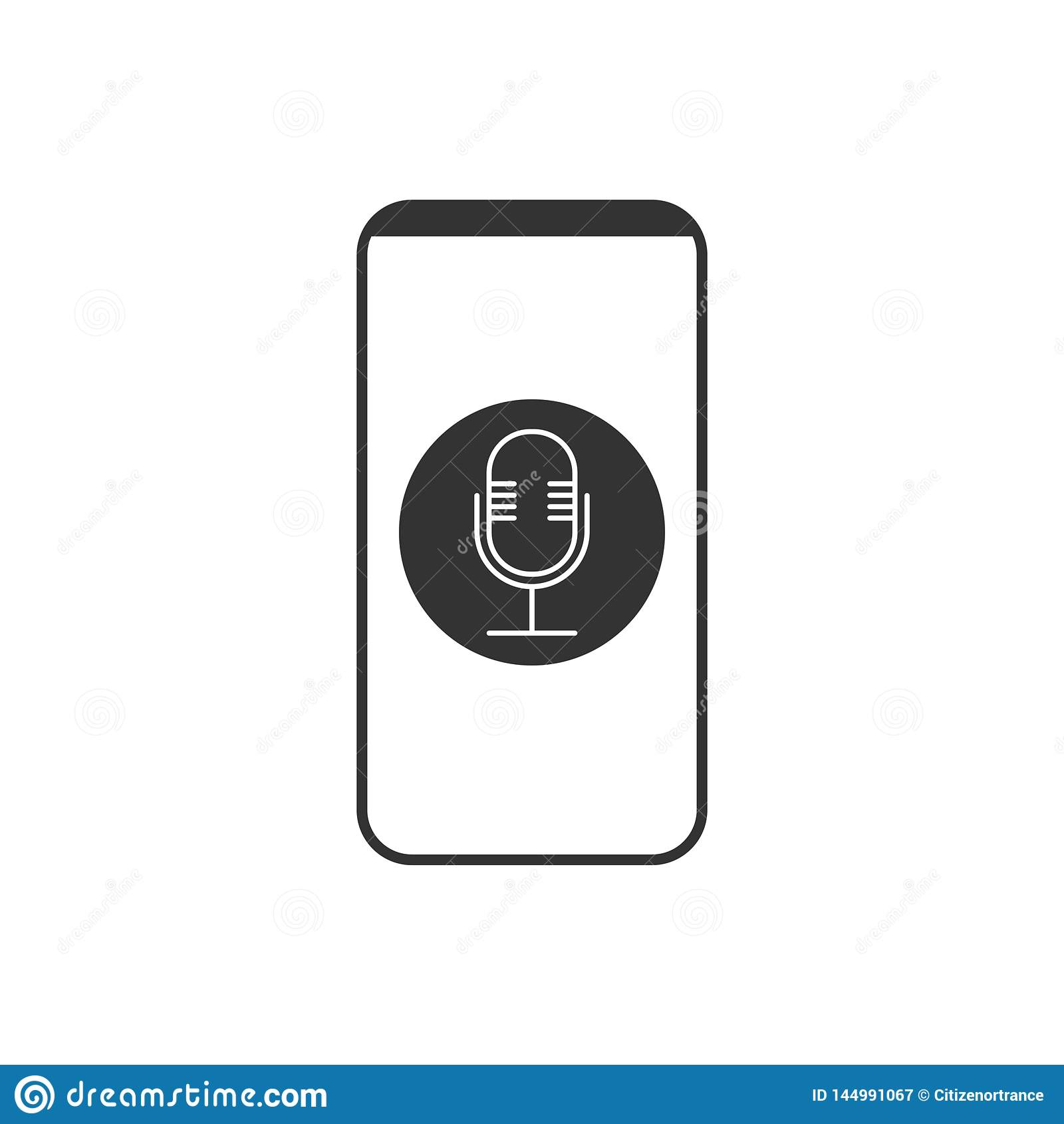 Smartphone, micr?fono, icono de la grabadora de voz Ejemplo del vector, dise?o plano