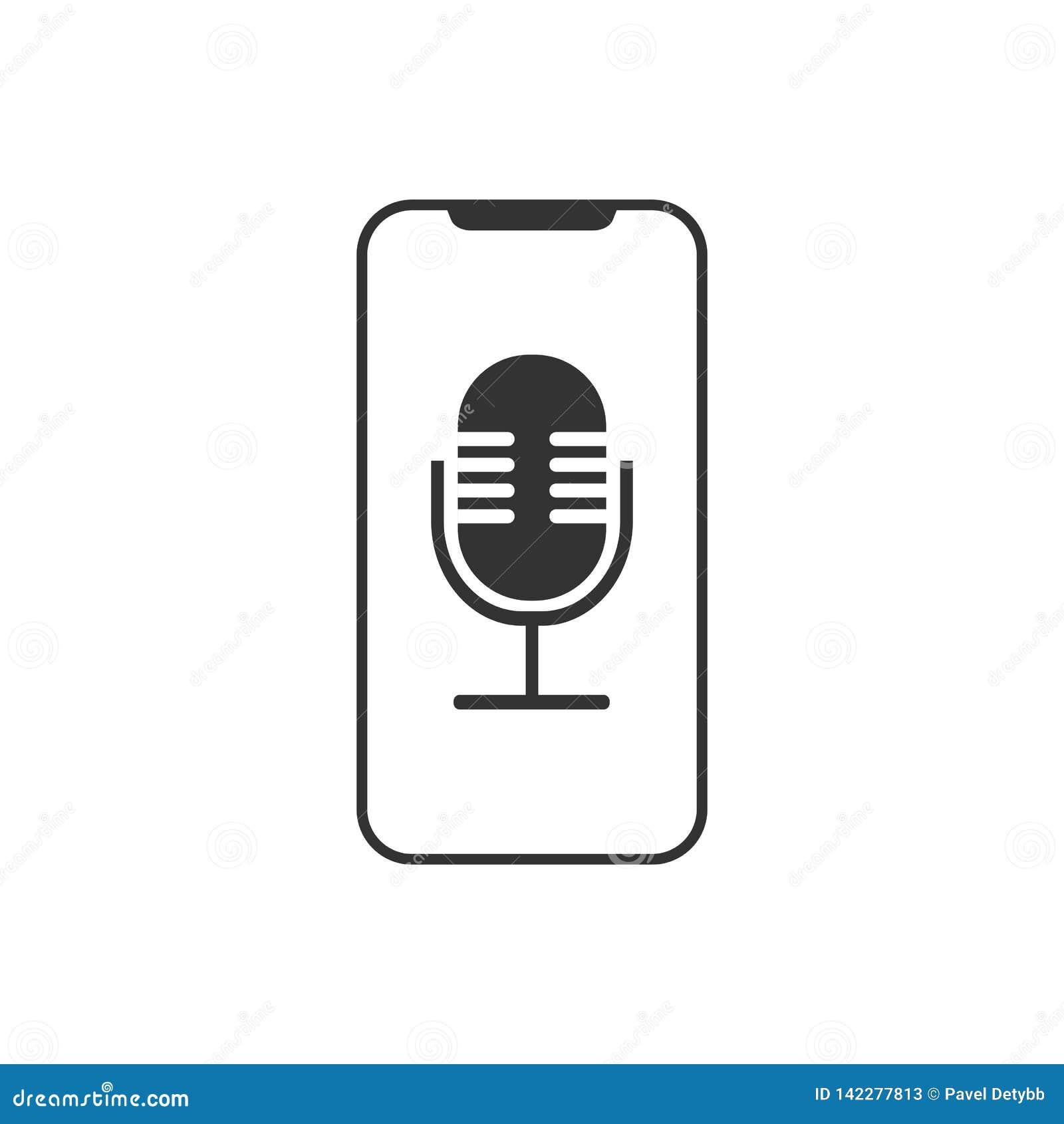 Smartphone, microphone, icône d enregistreur vocal Illustration de vecteur, conception plate