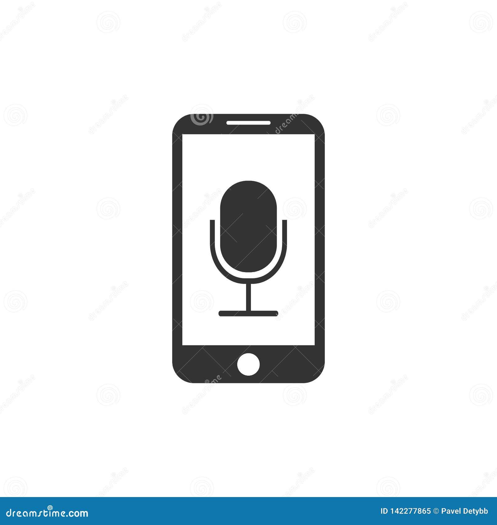 Smartphone, Mikrofon, Sprachaufzeichnungsanlageikone Vektorillustration, flaches Design