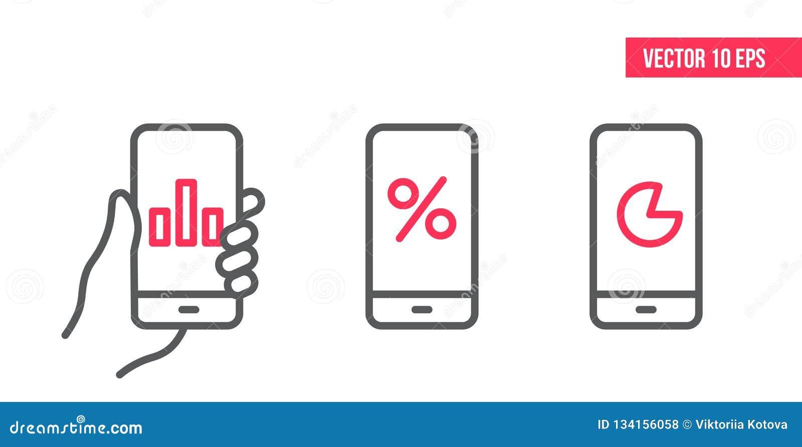 Smartphone mit Diagramm Ikone, Kreisdiagrammvektor auf Schirm Vektorgestaltungselementillustration, Linie Ikonen Mobile in der Ha