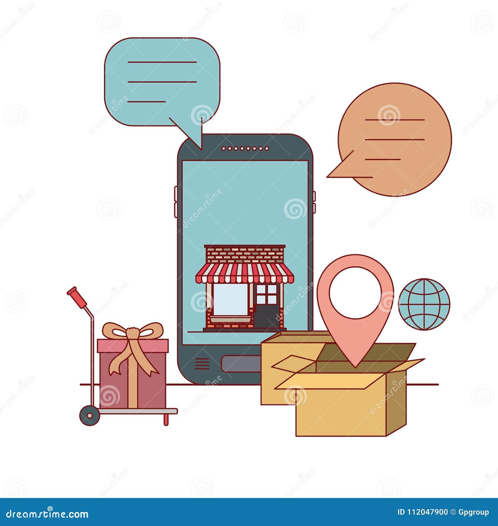 Smartphone Mit Tapete Innerhalb Des Lagerhaus Und Frachtwarenkorbes