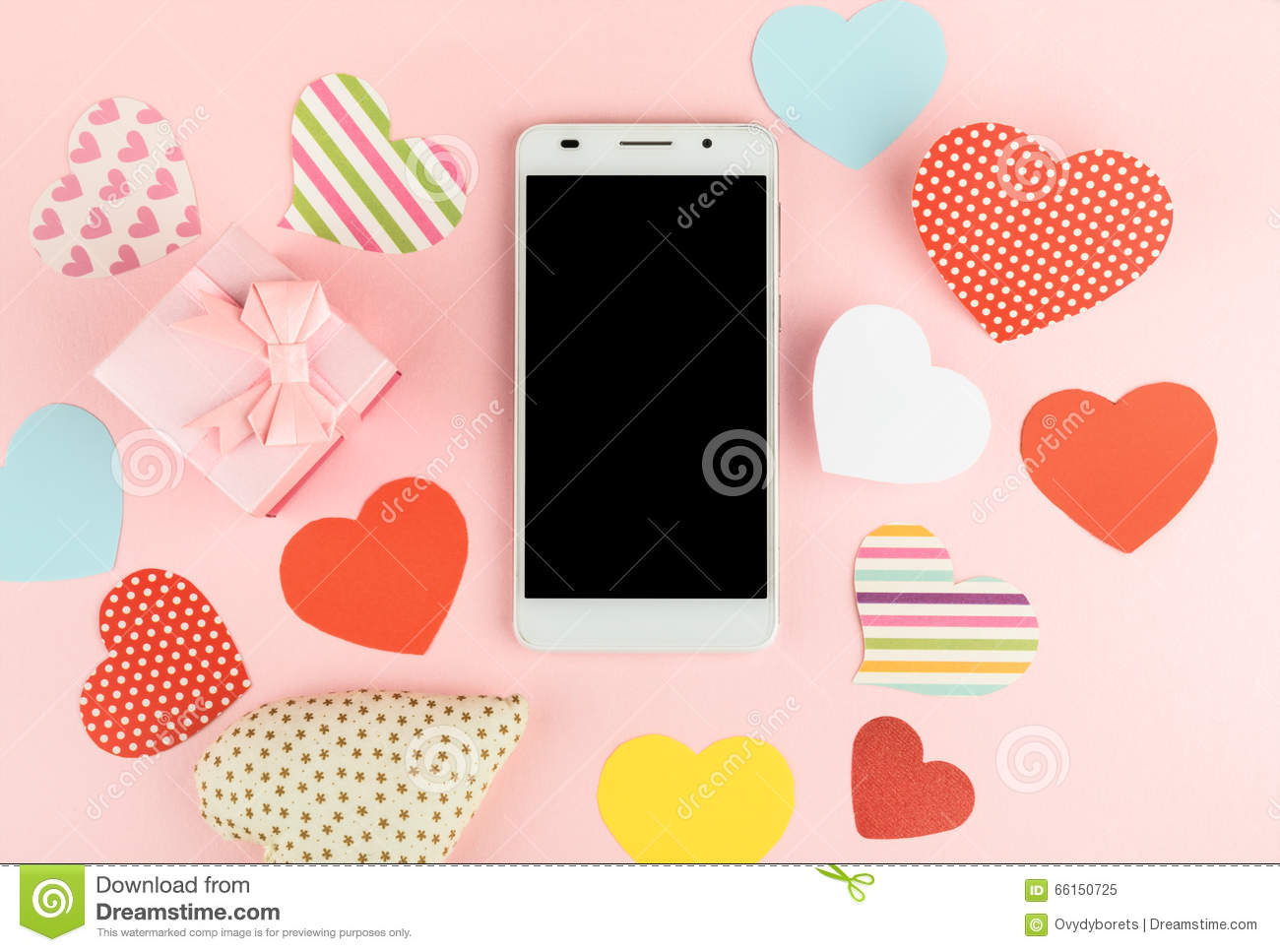 Smartphone mock up template for Valentine s day with heart shape