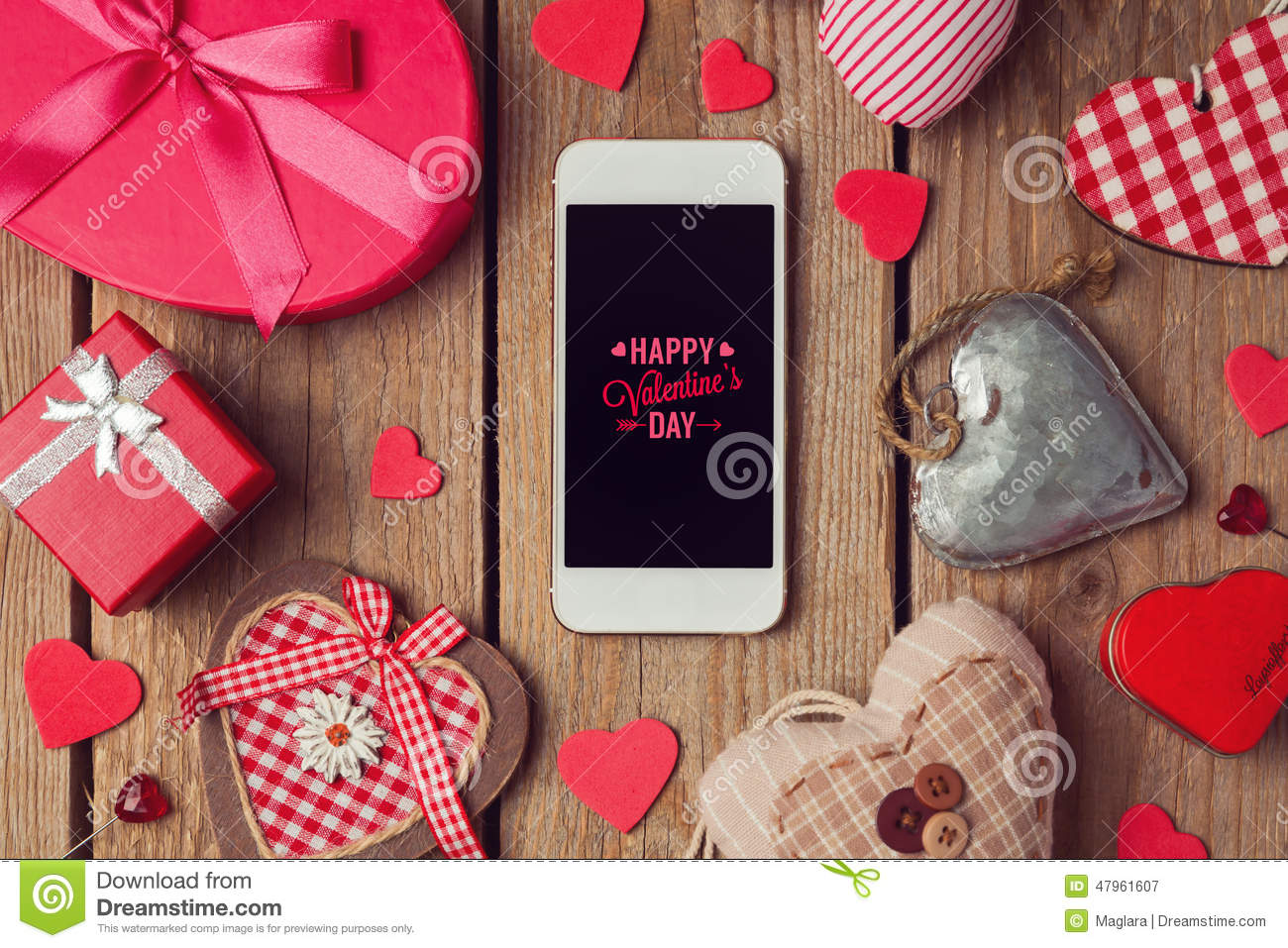 Smartphone mock up template for Valentine s day with heart shapes
