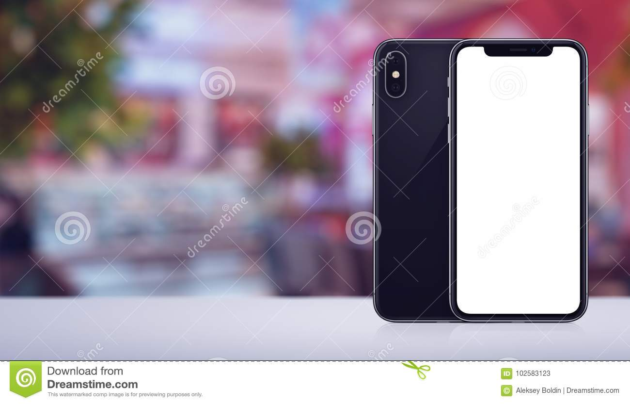 Smartphone mockup similar to iPhone X front and back sides on the desk in cafe banner with copy space