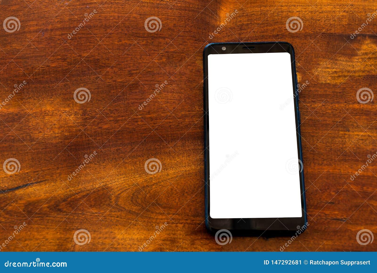 Smartphone-model op houten lijst