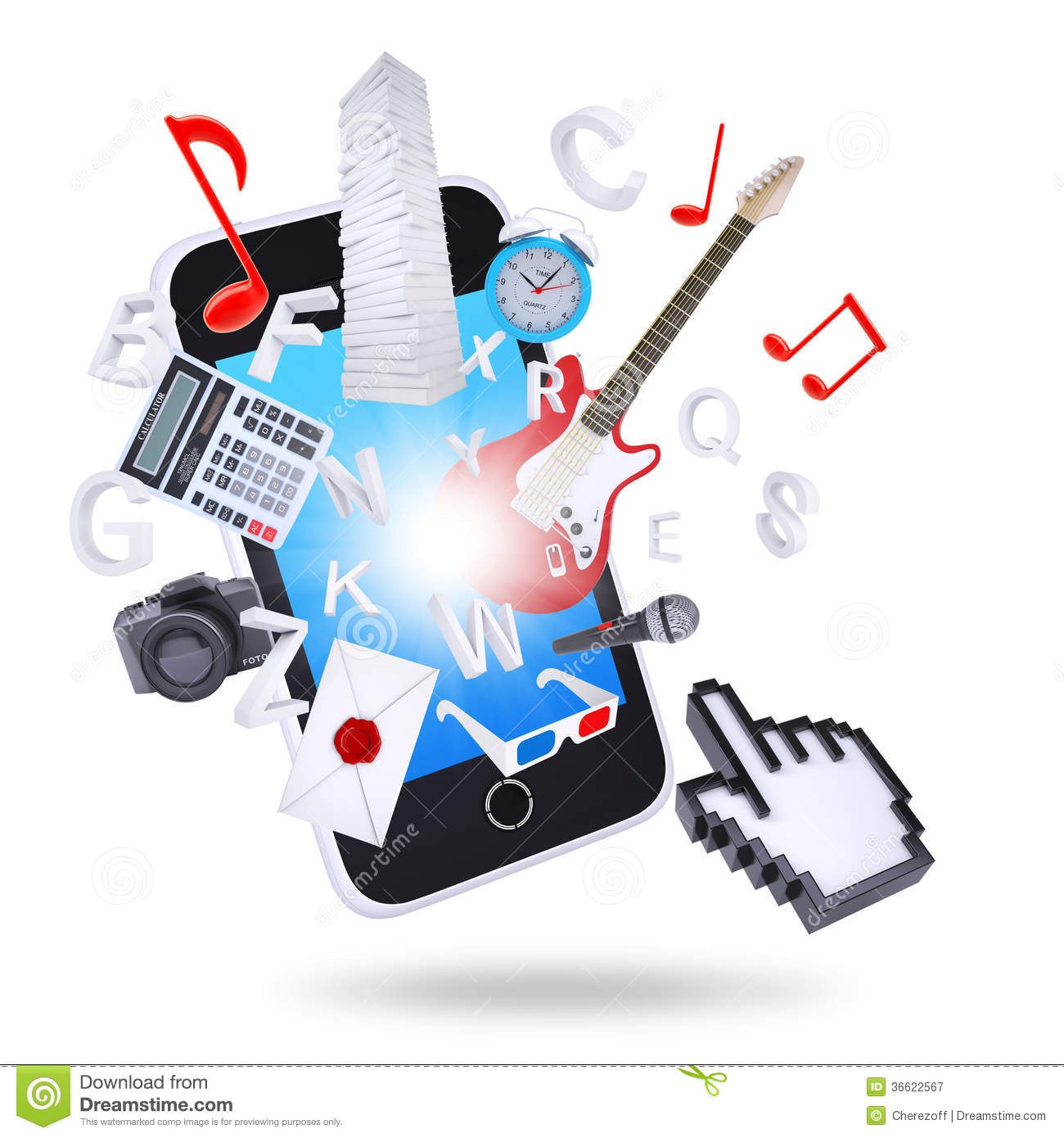 Smartphone And Multimedia Objects Royalty Free Stock ...