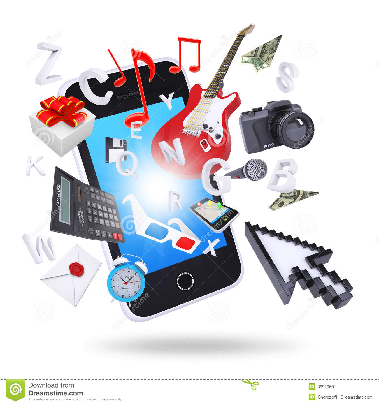 Smartphone And Multimedia Objects Stock Image - Image ...
