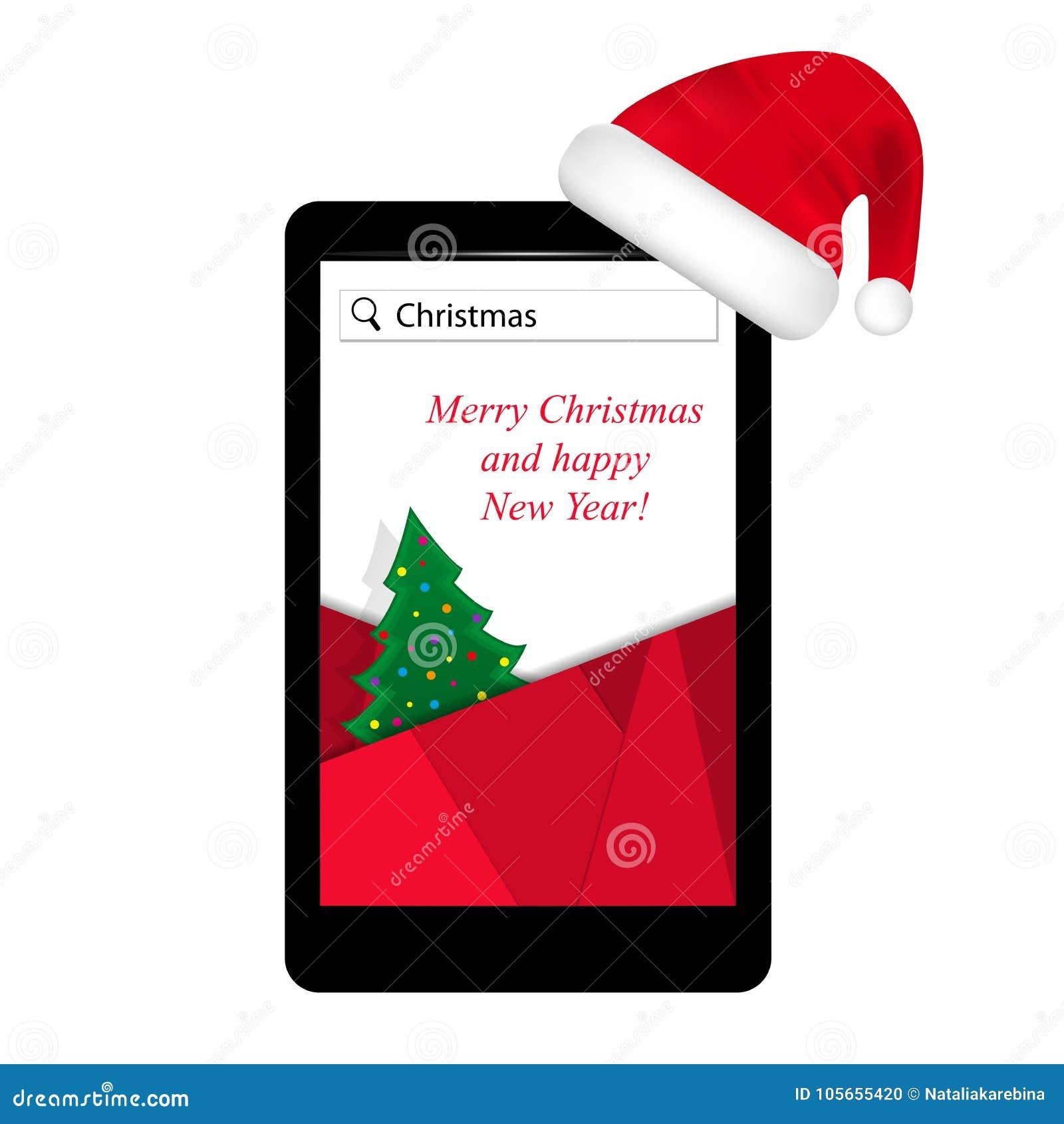Smartphone na árvore de Natal vermelha do chapéu de Santa Claus na tela Anos novos do dispositivo atual, tecnologia móvel Vetor