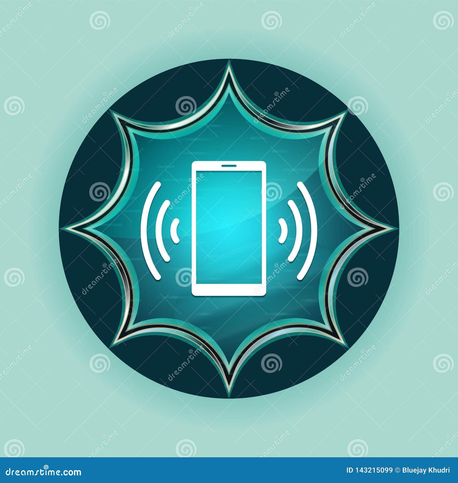 Smartphone network signal icon magical glassy sunburst blue button sky blue background