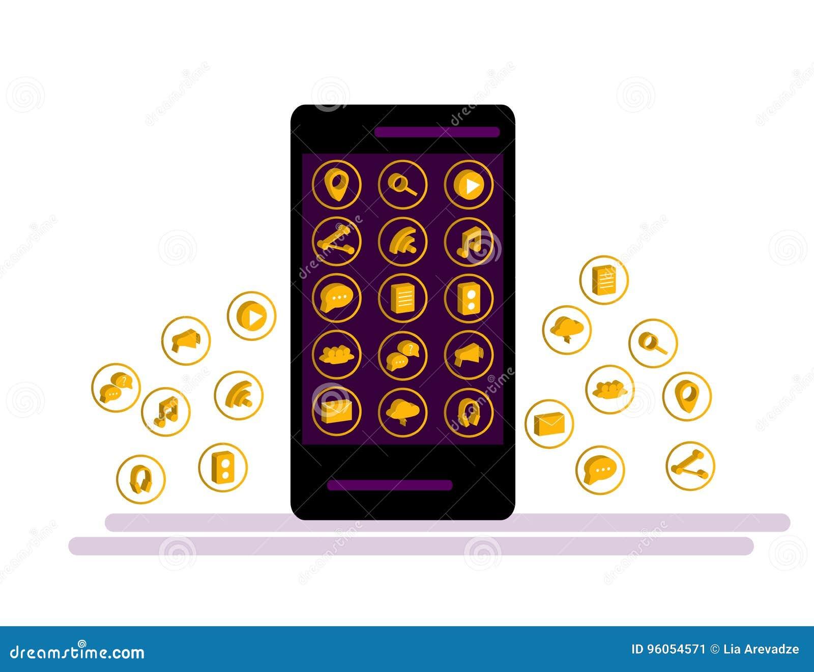 Smartphone noir avec le nuage des icônes d application et des icônes d Apps volant autour de elles, d isolement sur le fond blanc