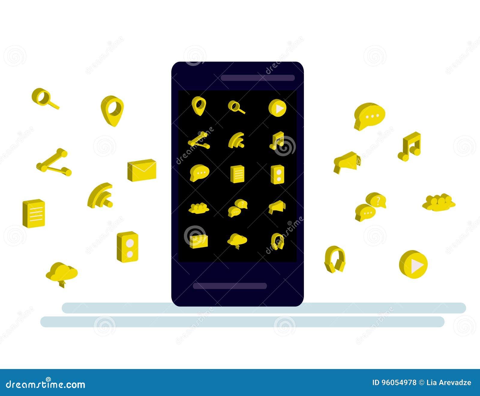 Smartphone noir avec le nuage des icônes d application et des icônes d Apps volant autour de elles, sur le fond blanc
