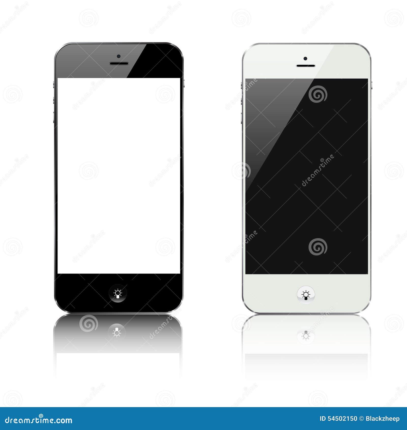 Smartphone noir et blanc avec le vecteur de bouton d idée de lampe
