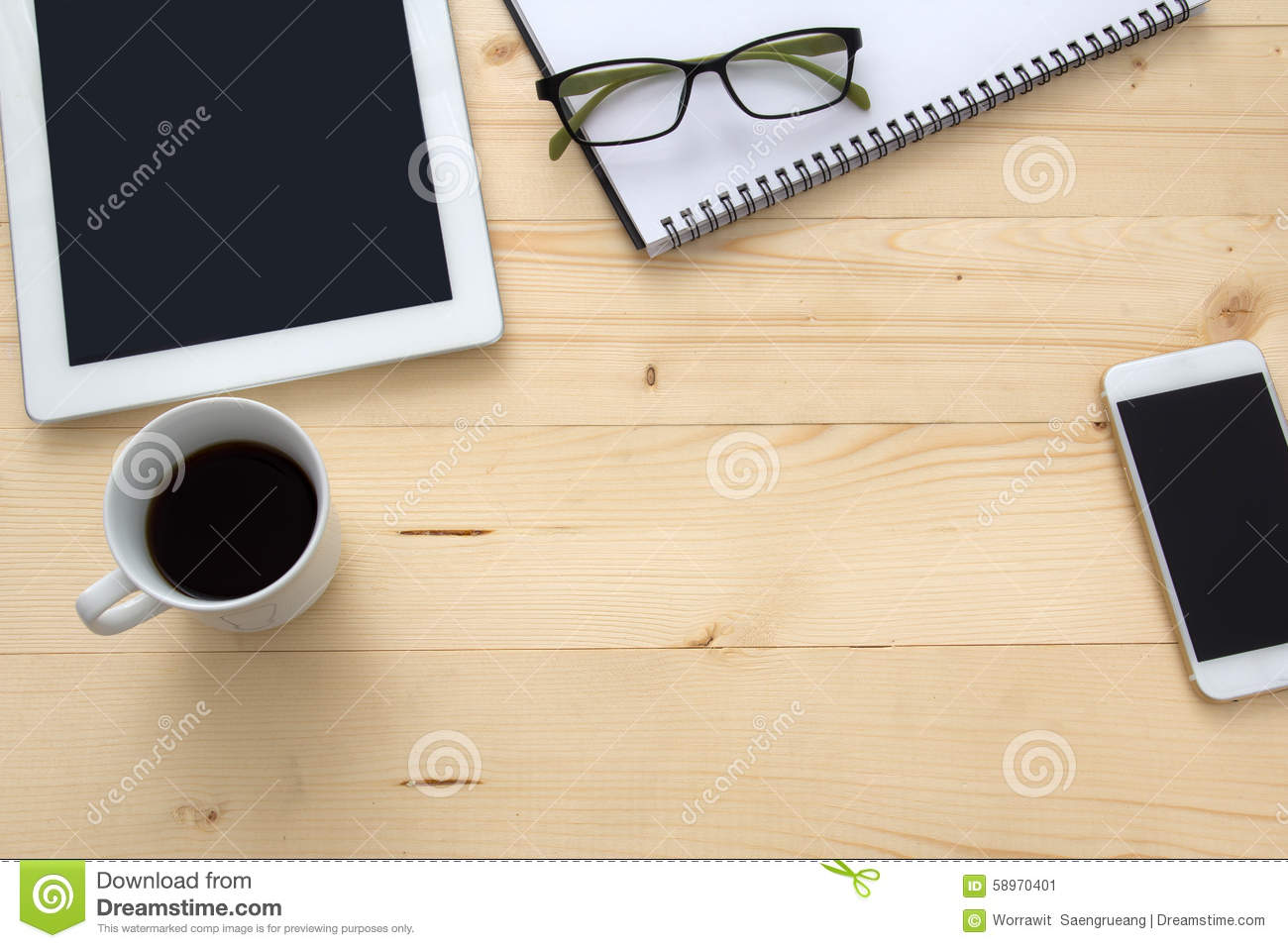 surface of a table with notebook smartphone eye glasses and pen royalty free stock photo. Black Bedroom Furniture Sets. Home Design Ideas