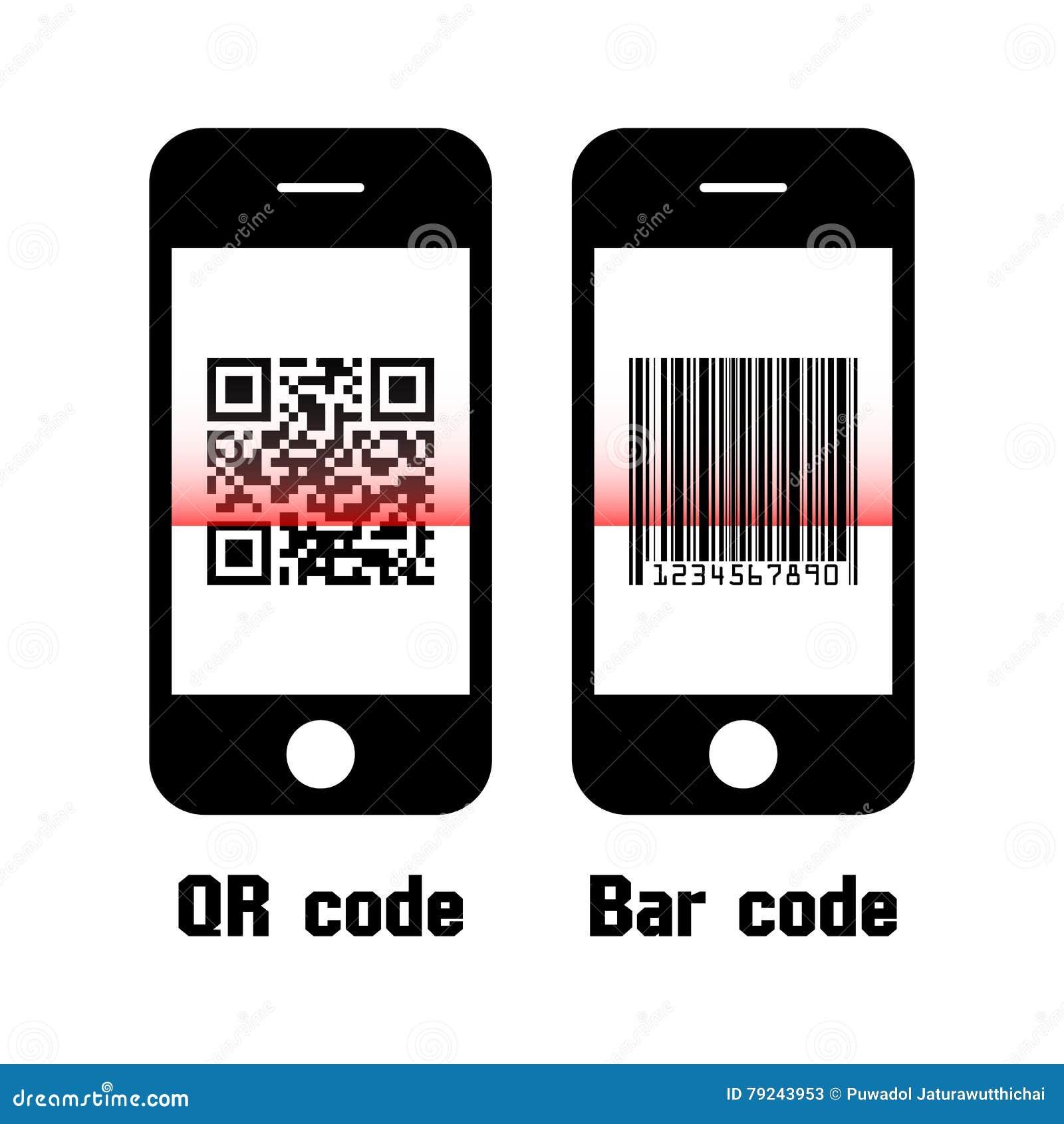 Smartphone obrazu cyfrowego QR kod i prętowy kod Płaski projekt