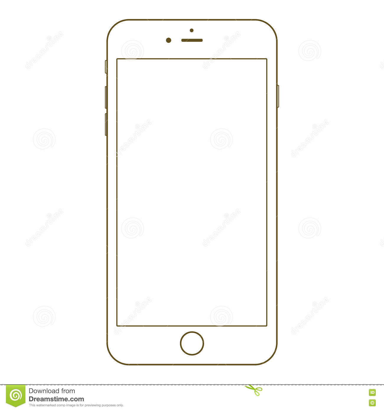 Smartphone Outline Icon On The White Background Stock