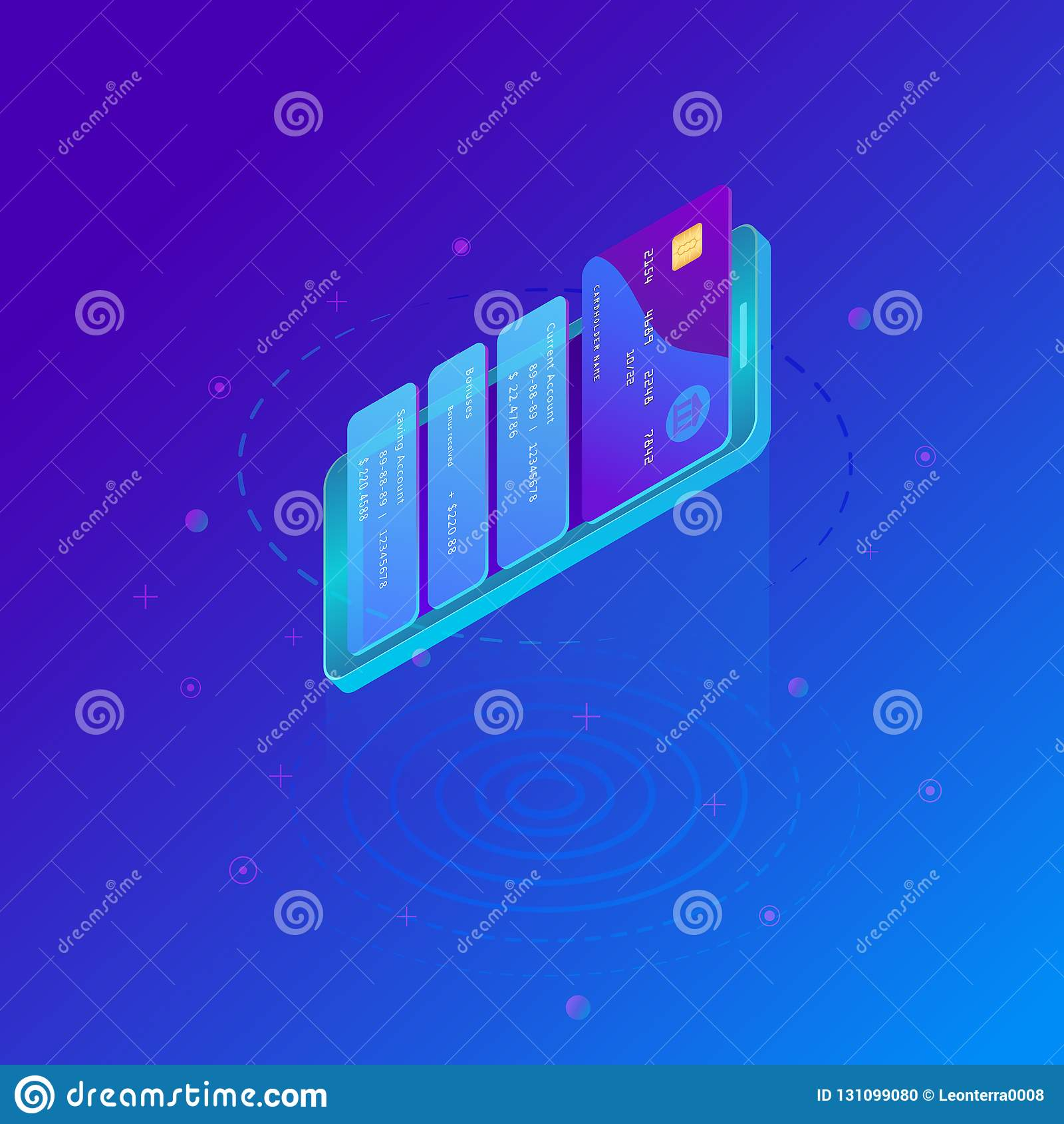 Virtual Credit Card Pay Online  Isometric Smart Phone And Internet