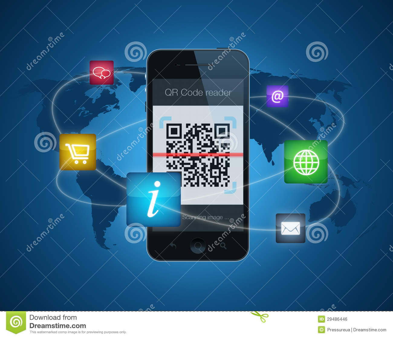 Smartphone With QR Code Reader Stock Illustration - Illustration of