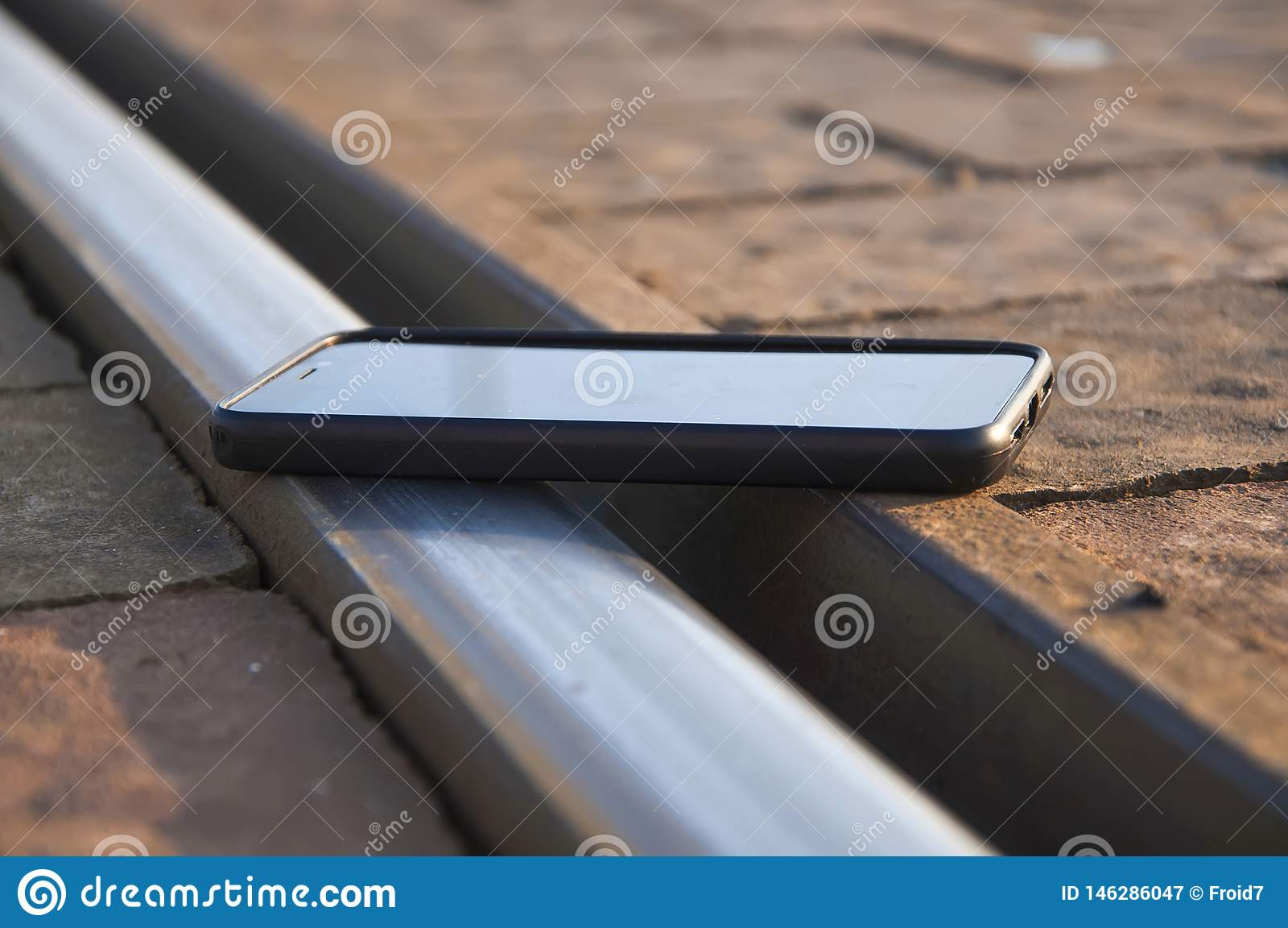 Smartphone on the railroad.