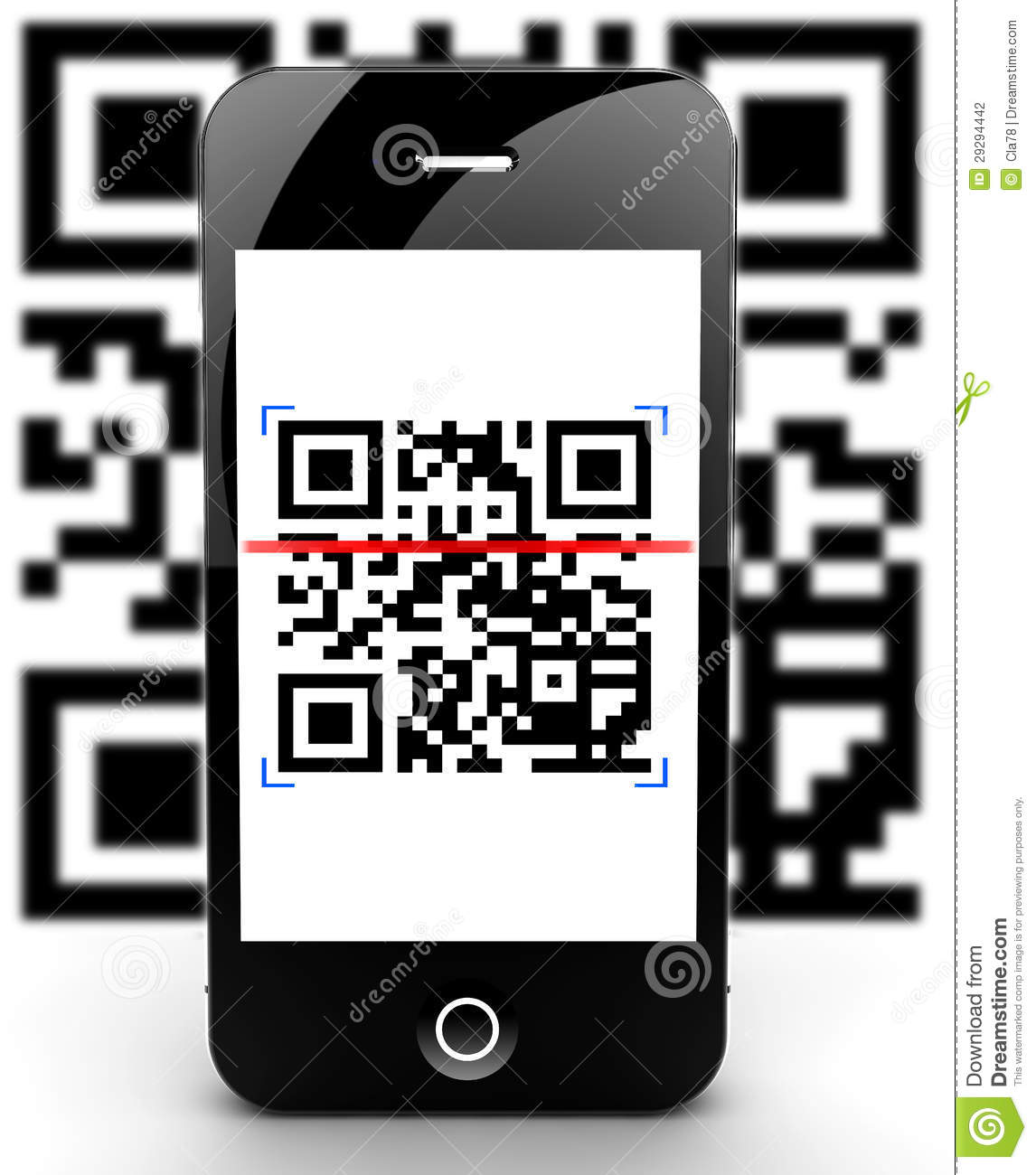 Smartphone Scanning Code Out Of Focus Stock Illustration