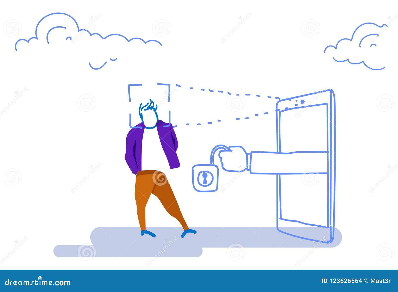 Smartphone Scanning Man Face Id Unlock Padlock Recognition