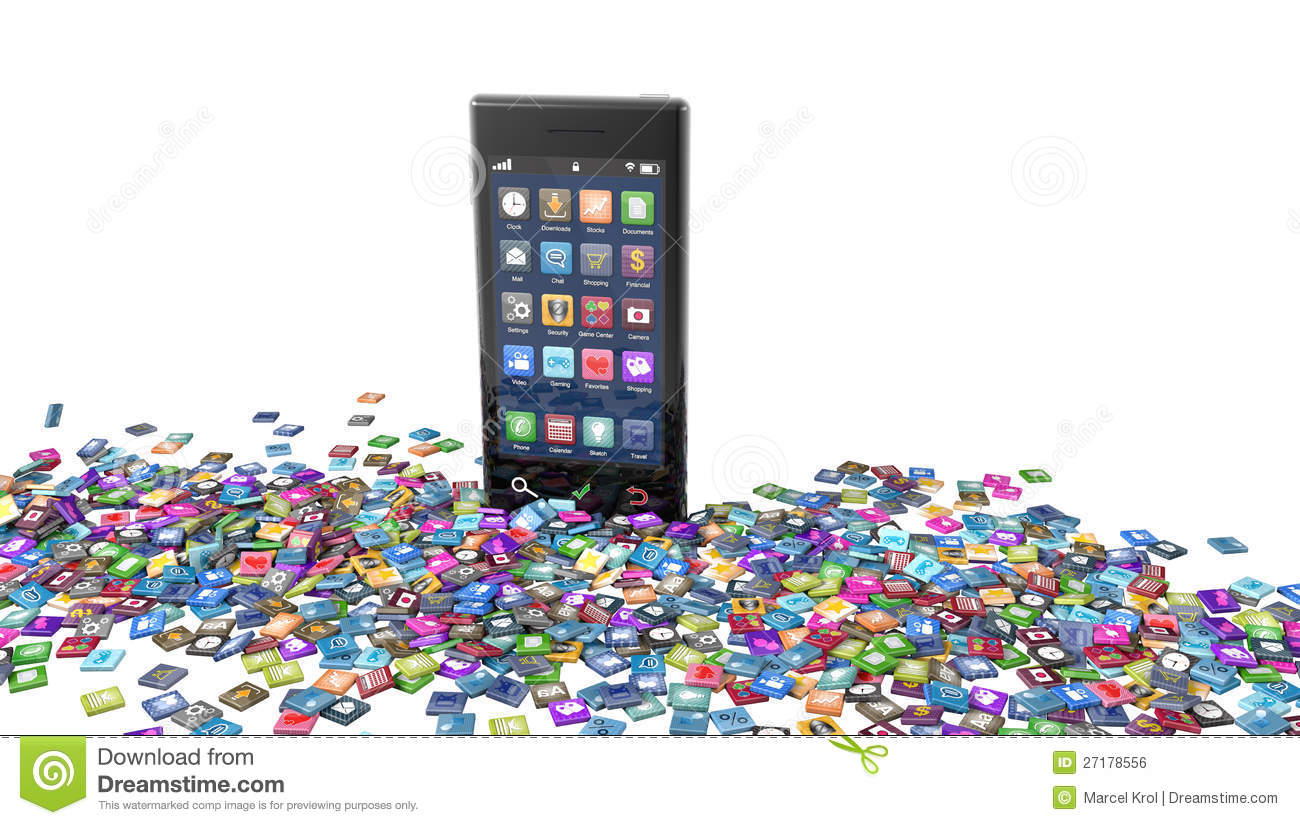 f52c4d999acc Smartphone With Scattered App Icons On White Stock Illustration ...