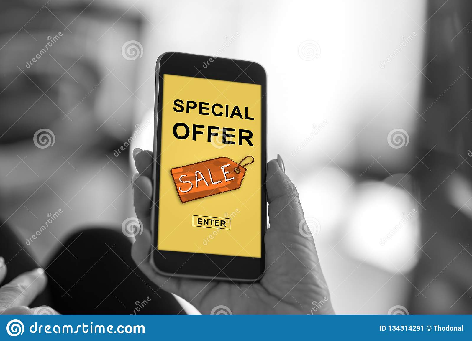 Special offer concept on a smartphone