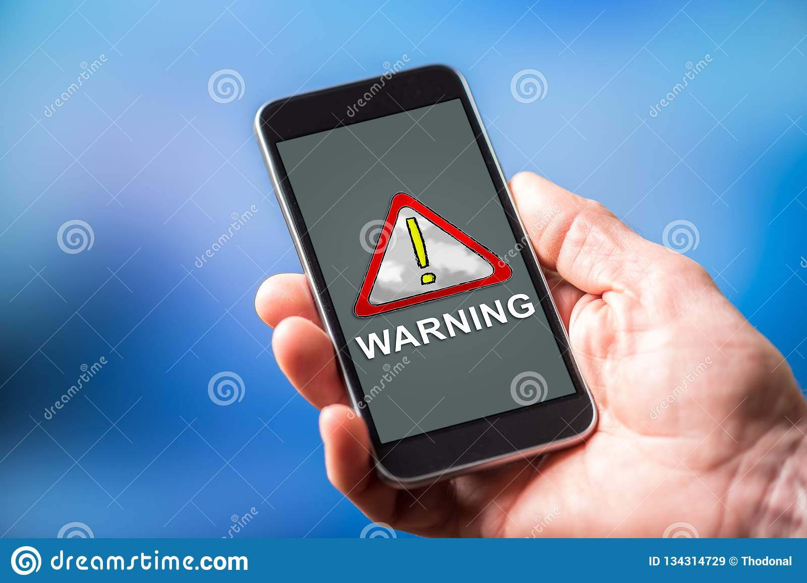 Warning concept on a smartphone