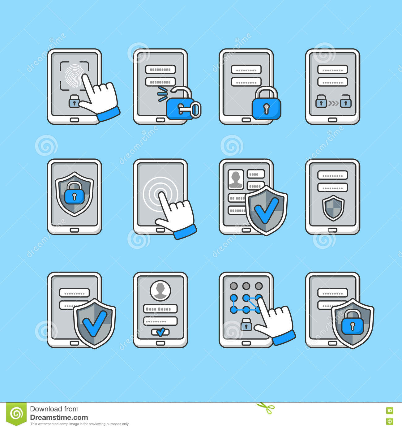 Smartphone security concept. Vector icons set of mobile security. Password key and lock on smartphone.