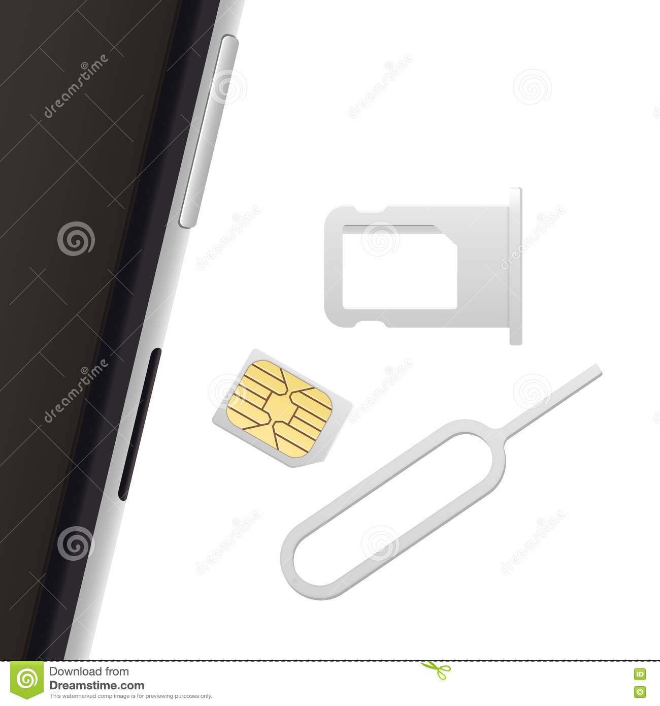 Realistic 3d Microchip Isolated On White Cartoon Vector