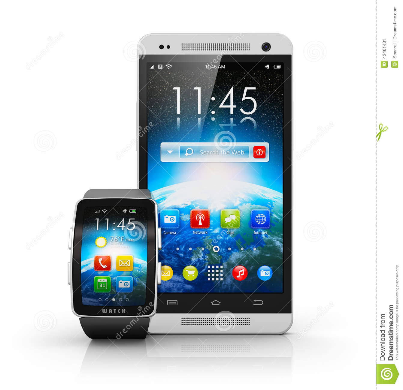 smartphone and smart watch stock illustration