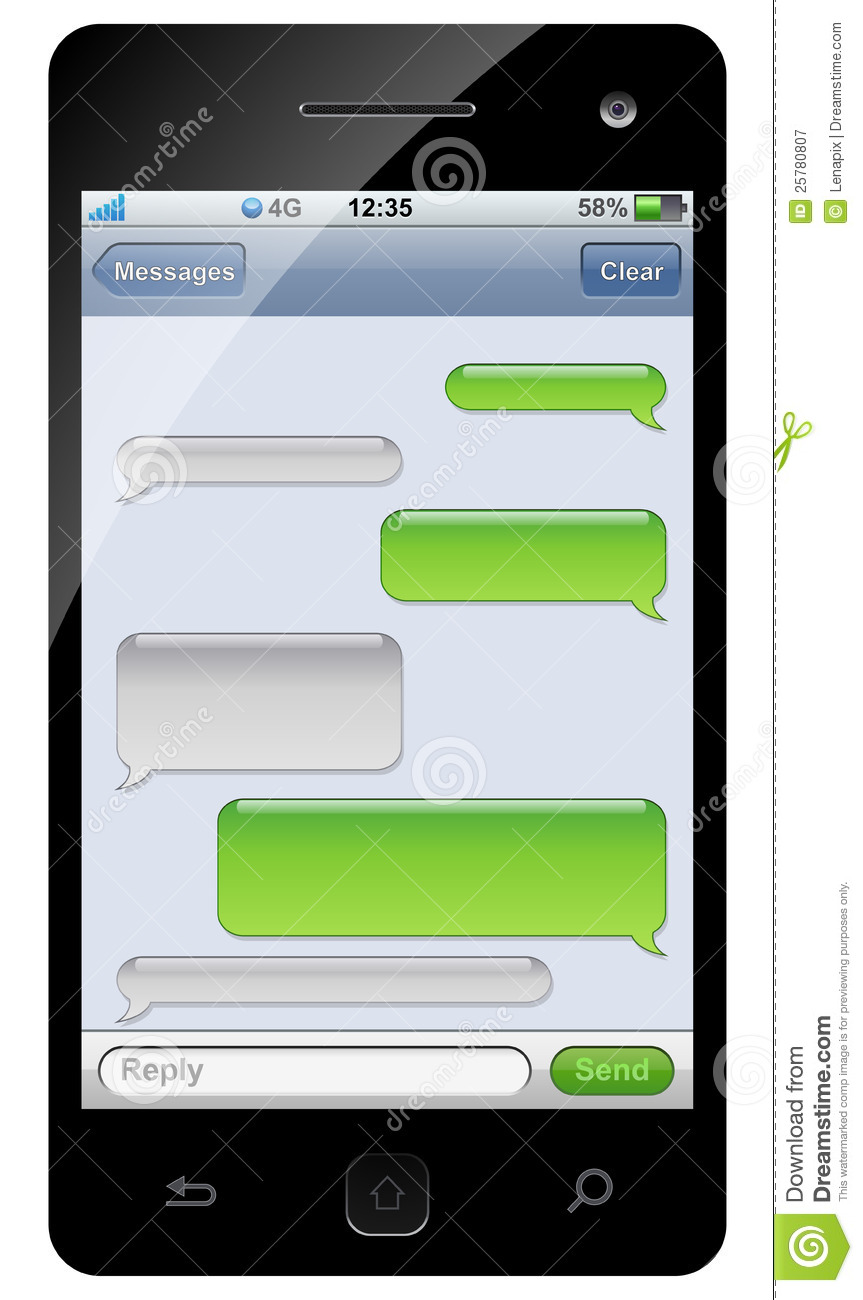 Smartphone Sms Chat Template Stock Vector - Image: 25780807