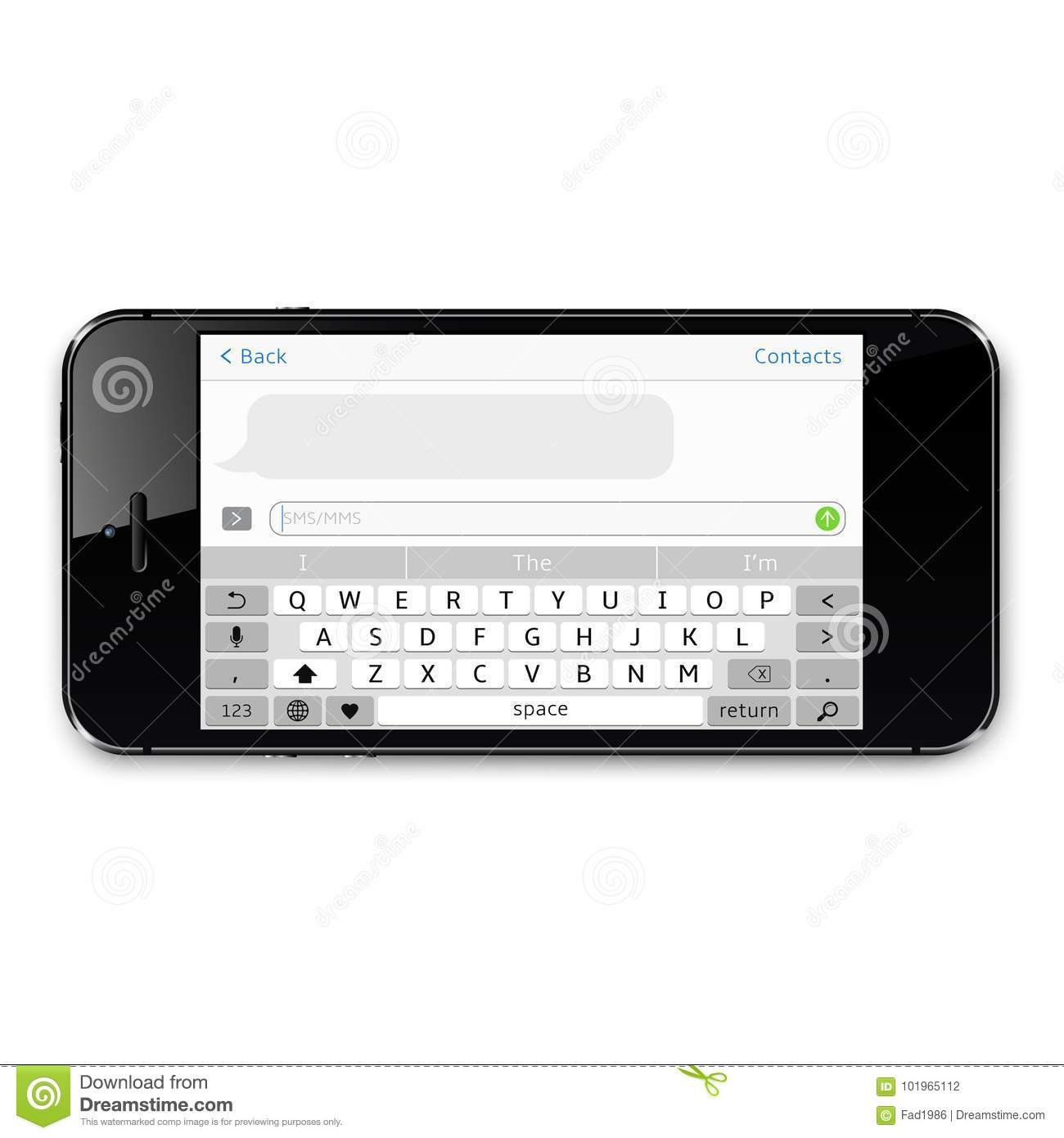 smartphone sms chat template with copy space stock vector
