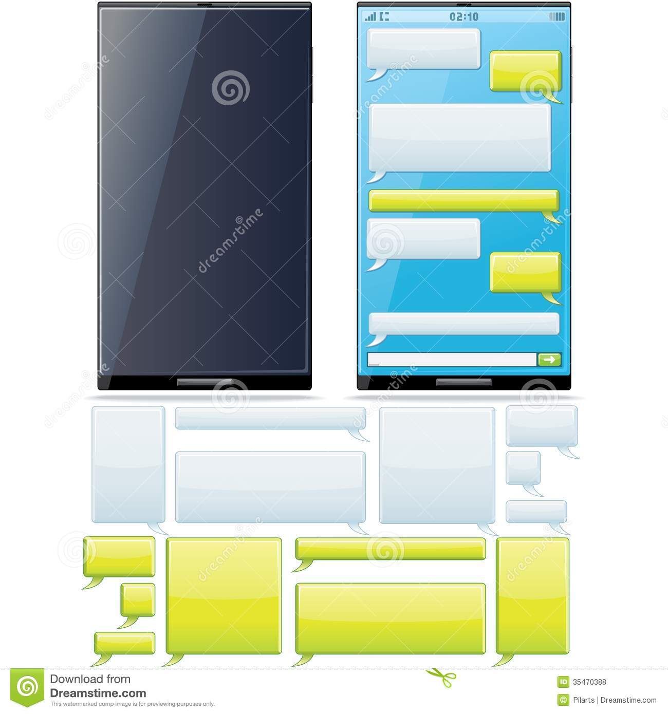 smartphone sms chat template stock vector image 35470388. Black Bedroom Furniture Sets. Home Design Ideas