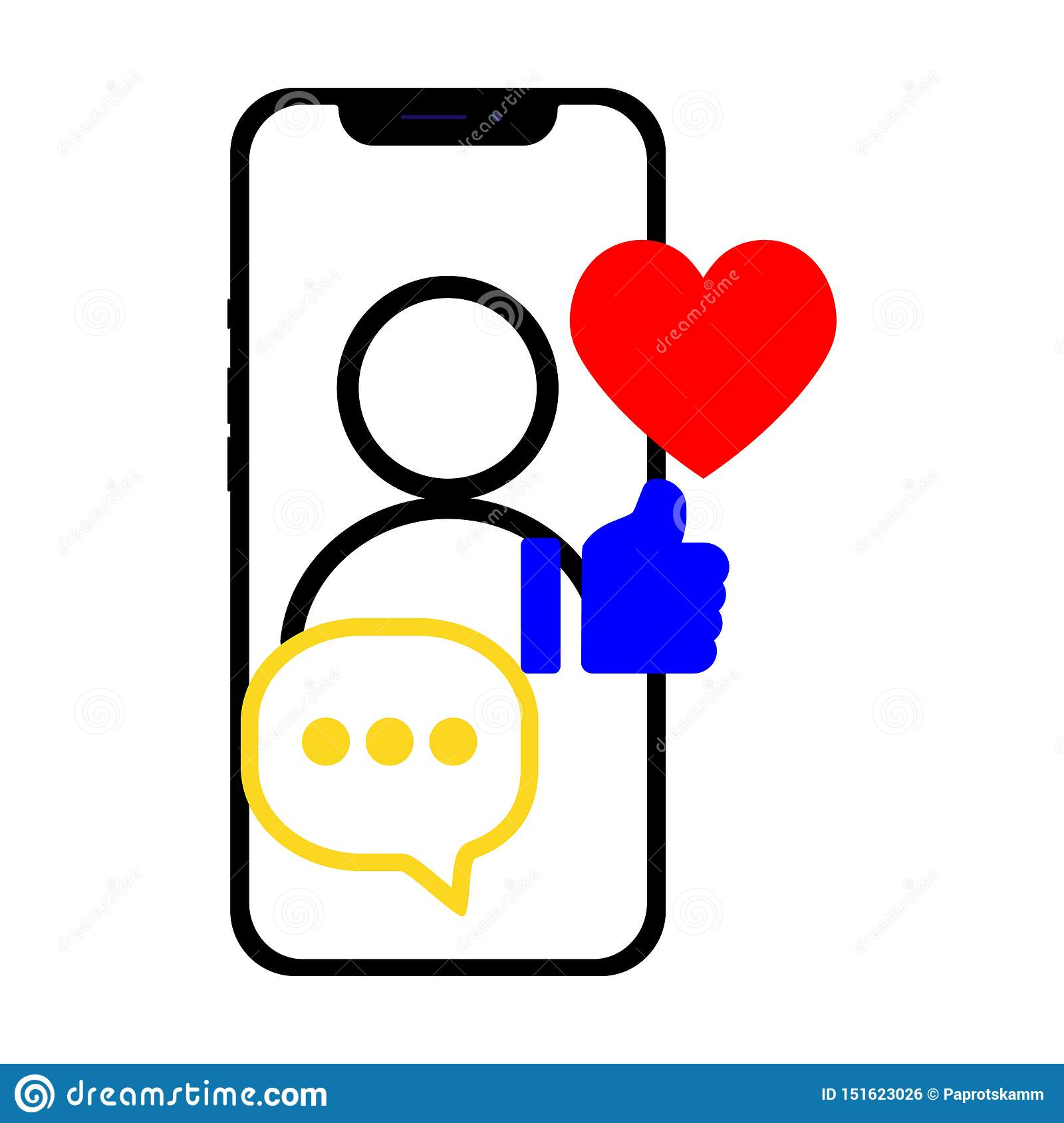Smartphone with social media related icons over the screen. Flat vector illustration for the web site, app, banner.