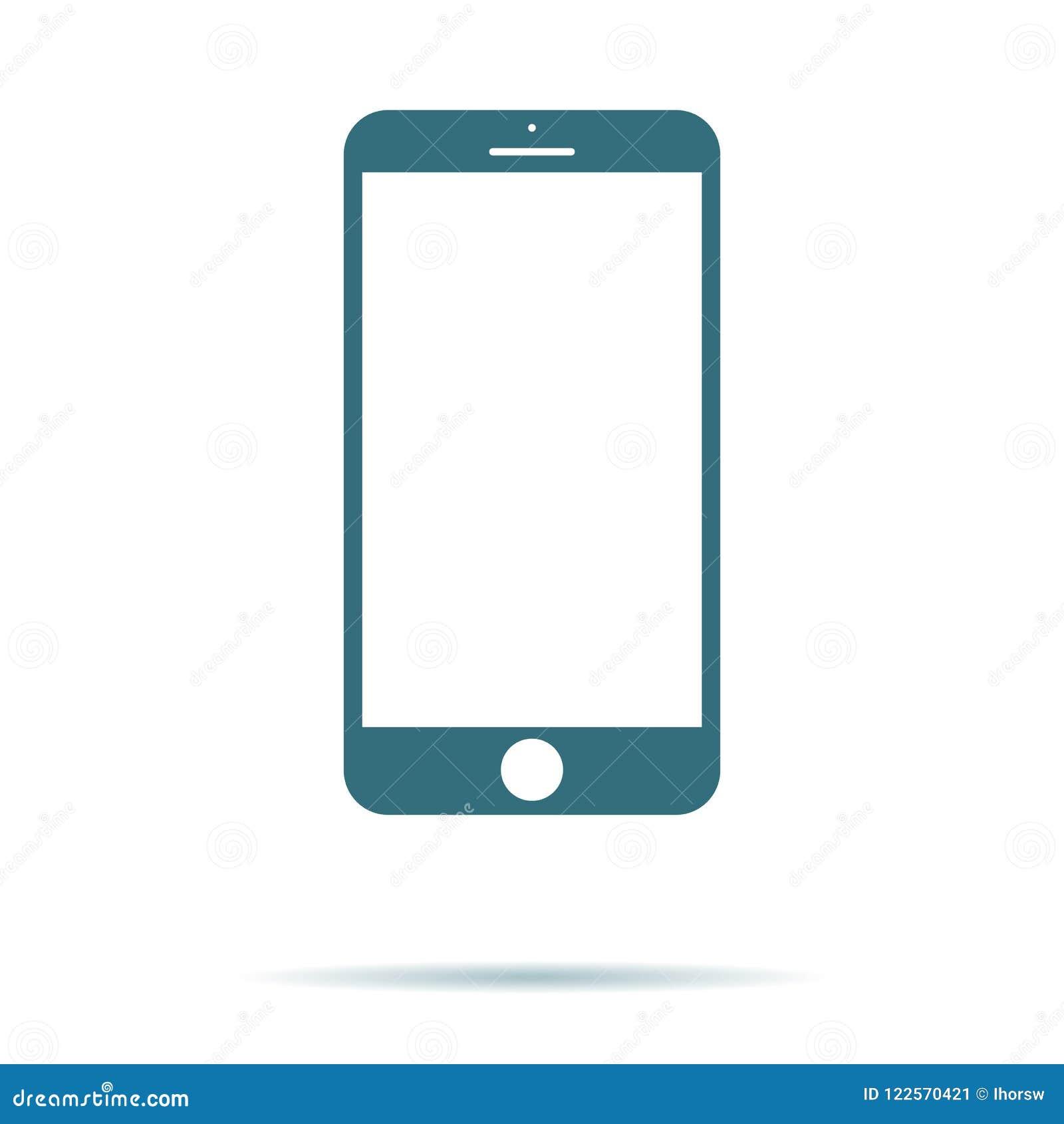 Smartphone symbol med den isolerade tomma skärmen Modernt enkelt plant telefontecken för färgbegrepp för bakgrund blåa internet T