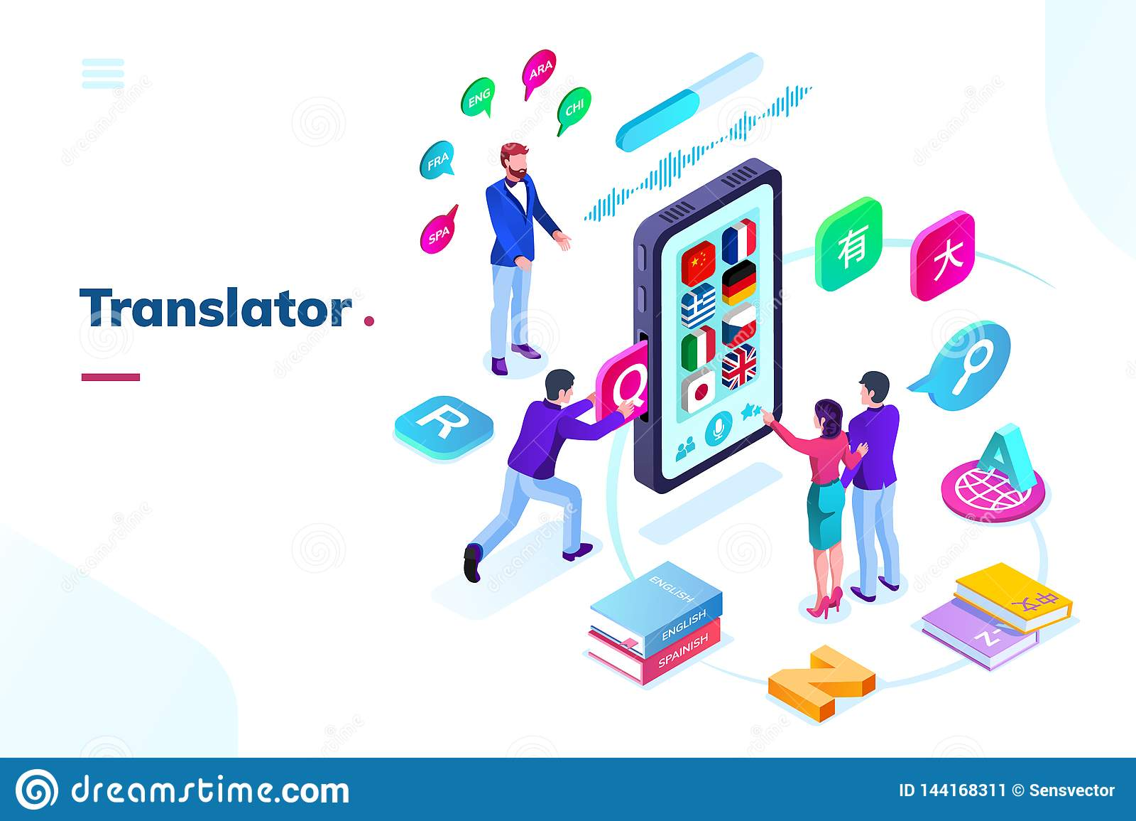 Smartphone, telefone com o tradutor em linha da língua