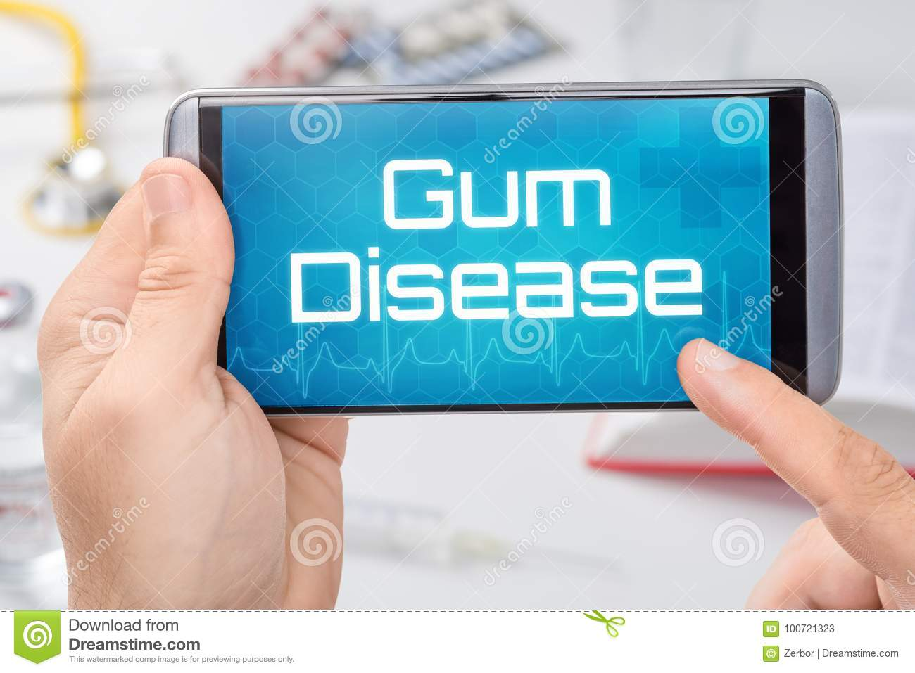 Smartphone with the text Gum Disease