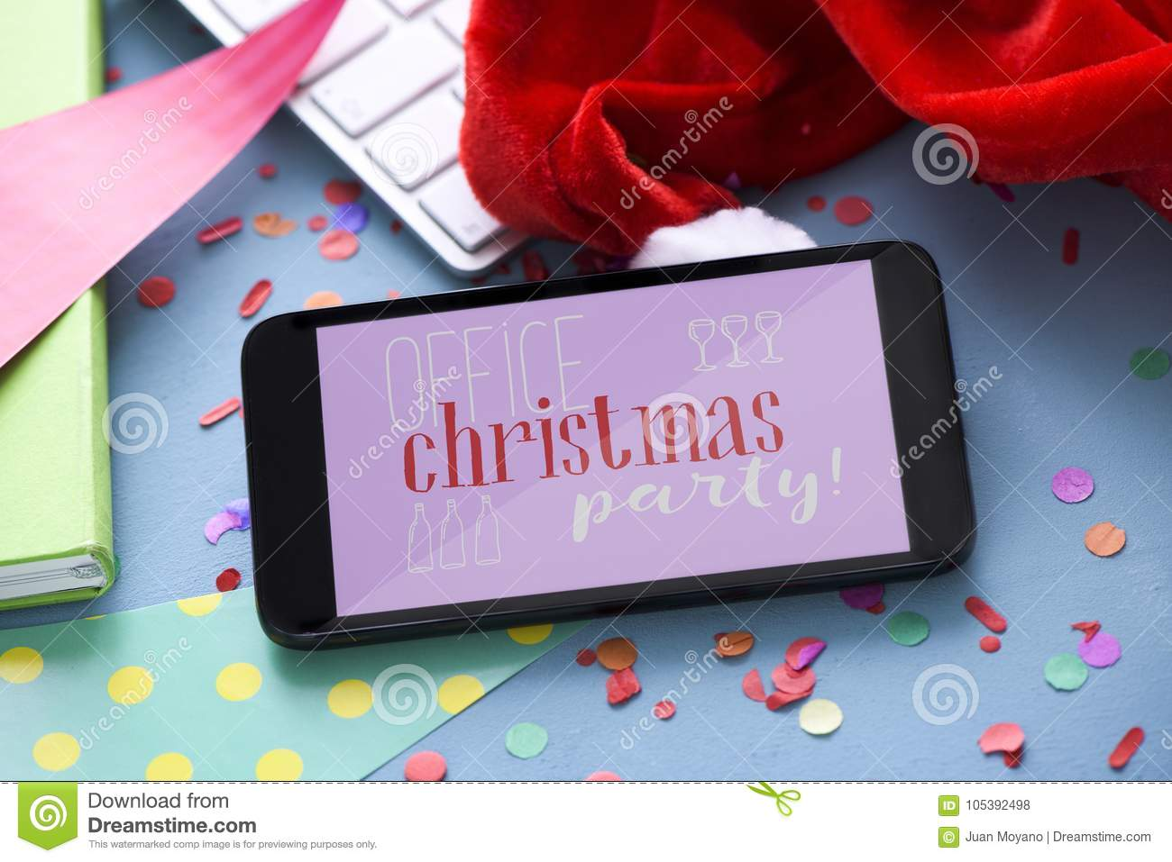 Text Office Christmas Party In A Smartphone Stock Photo - Image of ...