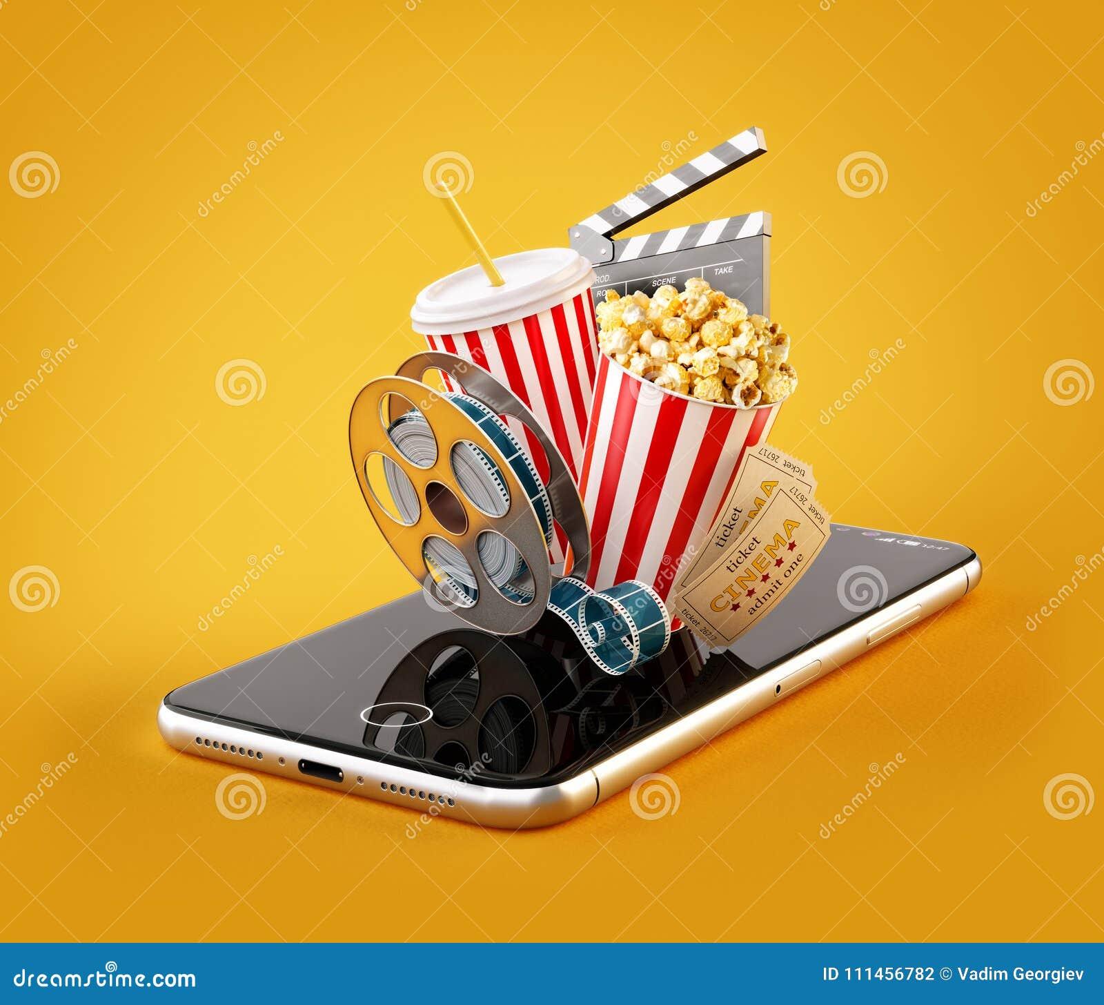 Smartphone-toepassing voor online het kopen en het boeken bioskoopkaartjes Leef het letten op films en video
