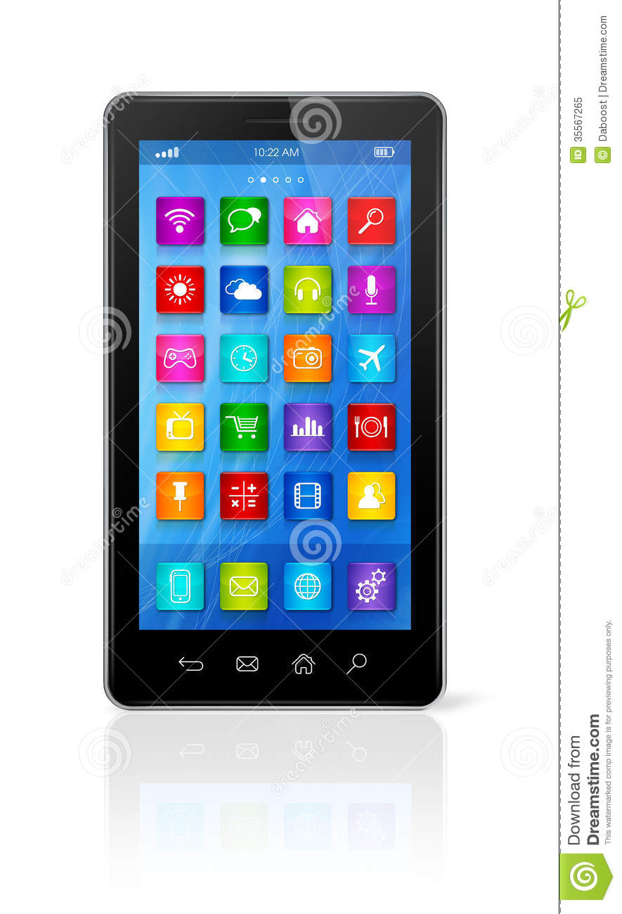Smartphone Touchscreen Hd Apps Icons Interface Stock Illustration Image 35567265