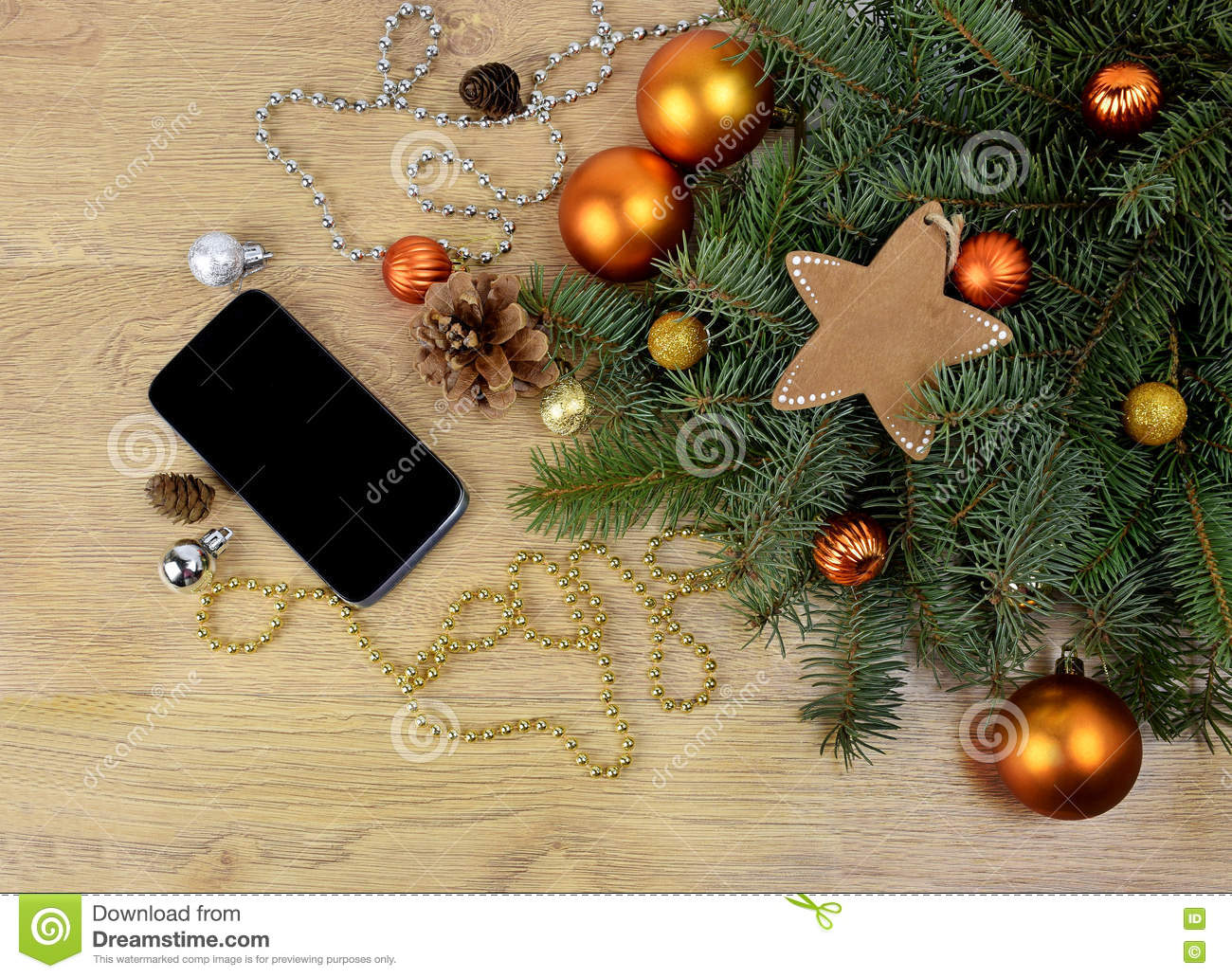 Smartphone And Tree Branches On The Wooden Background. Modern Co ...