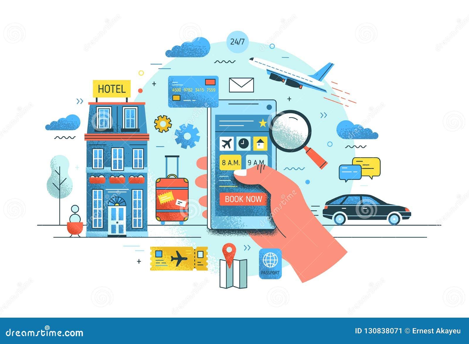 Smartphone van de handholding tegen hotel de bouw, het vliegen vliegtuig, berijdende auto en koffer op achtergrond Concept van on