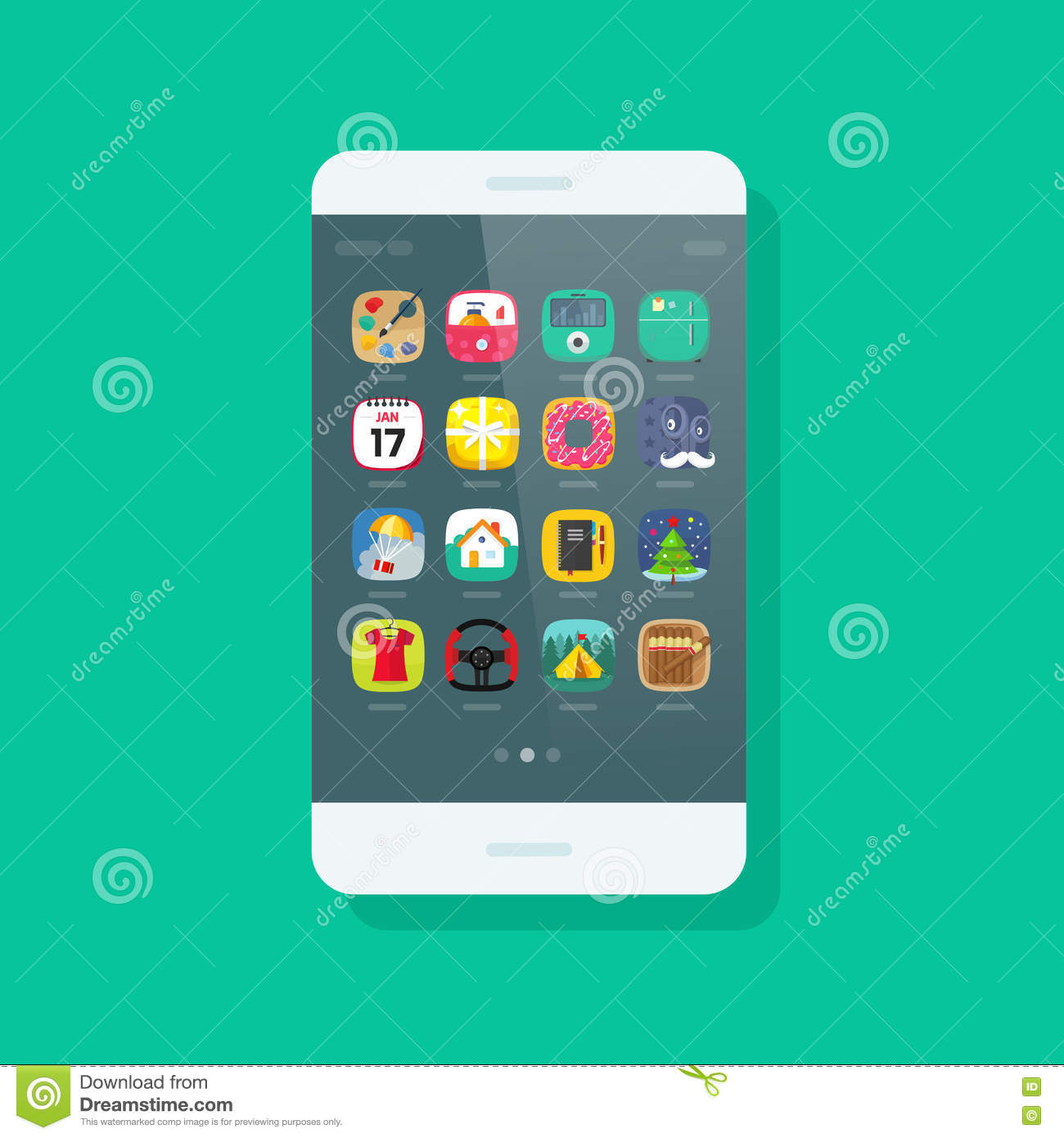 Smartphone Green Screen Flat Icon Royalty-Free Cartoon ...