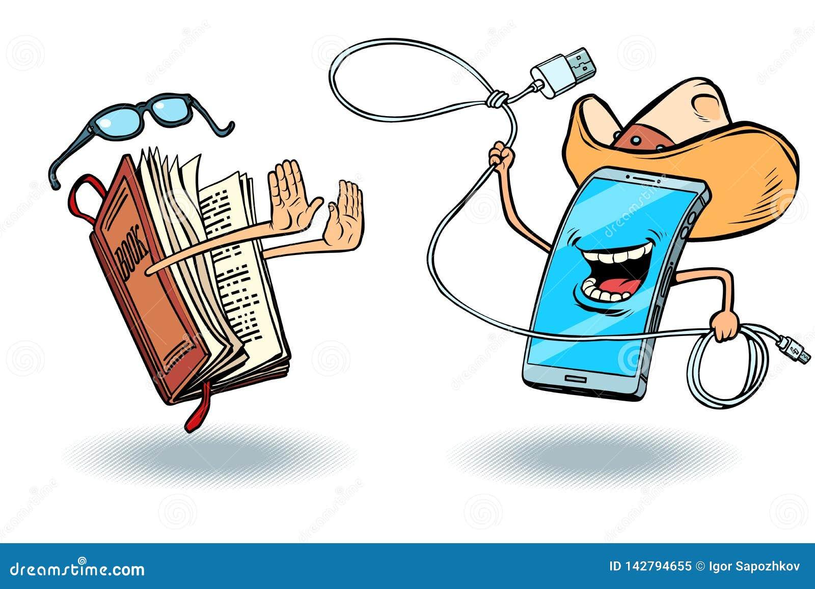 Smartphone versus książki Literatura i miłość czytanie i nowożytna technologia